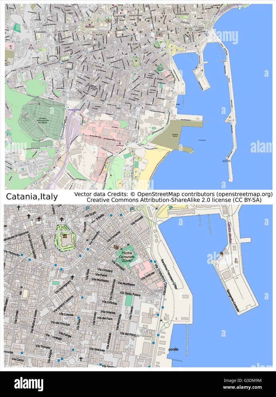 Catania Italy city map Stock Vector Art Illustration Vector Image