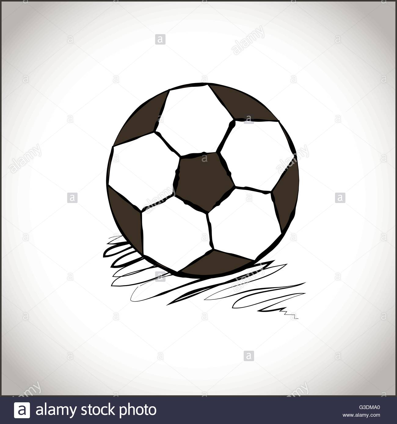 Hand drawn style football ball a soccer ball icon sports