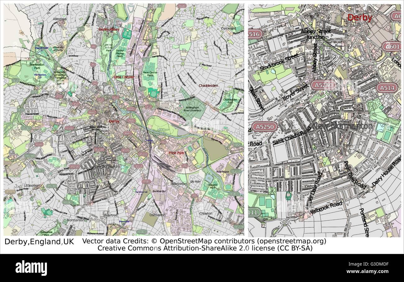 Map Of Uk Derby.Derby England Uk City Map Stock Vector Art Illustration Vector