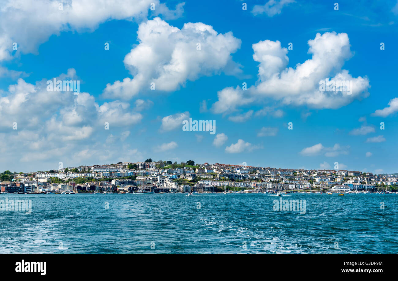 The Falmouth, Cornwall Waterfront from the Greenbank Hotel (right) to the Prince of Wales Pier (left) - Stock Image