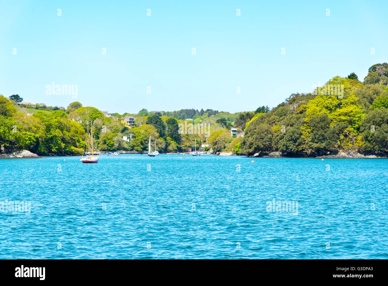 Restronguet Creek, Carrick Roads, Cornwall. Stock Photo