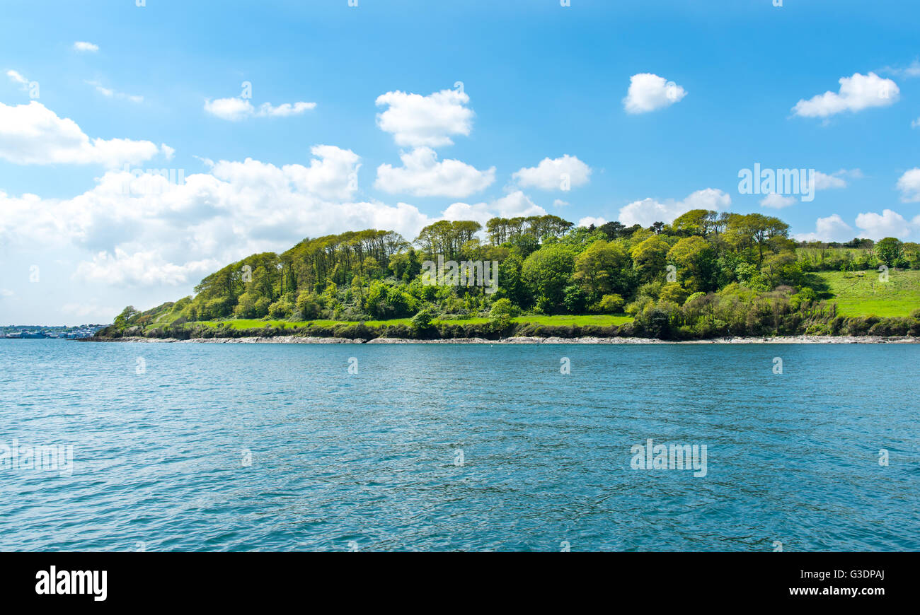 Trefusis Point, on the Carrick Roads, Falmouth, Cornwall, UK - Stock Image