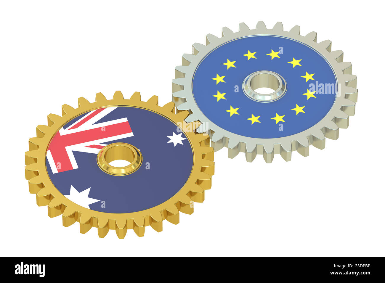Australia and EU flags on a gears, 3D rendering isolated on white background - Stock Image