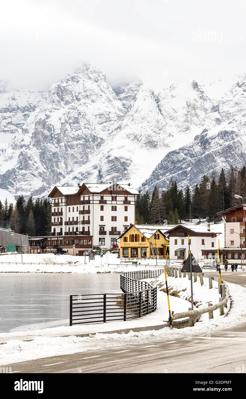 Belluno, Italy - December 14, 2014: hotels and restaurants at the Misurina lake during the winter season - Stock Image