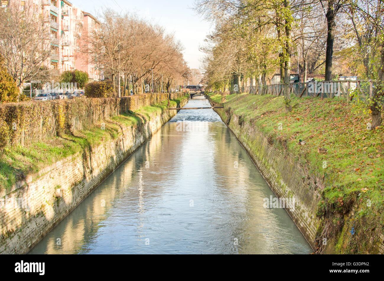 suburb river canal - Bologna Reno river - Stock Image