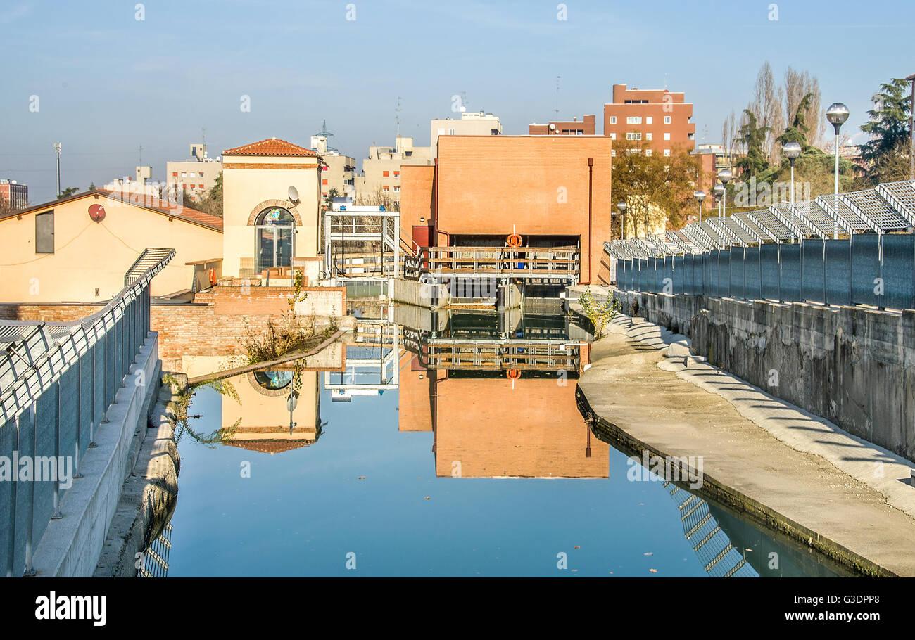 Bologna  the lock of the Reno river in Casalecchio di Reno suburb - Stock Image