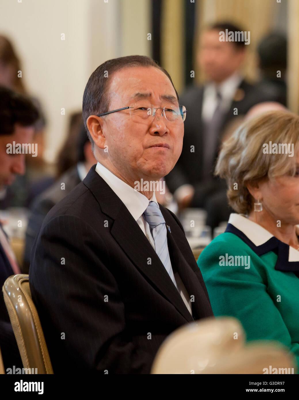 UN Secretary General Ban-Ki Moon at Climate Action 2016, Washington, DC USA Stock Photo