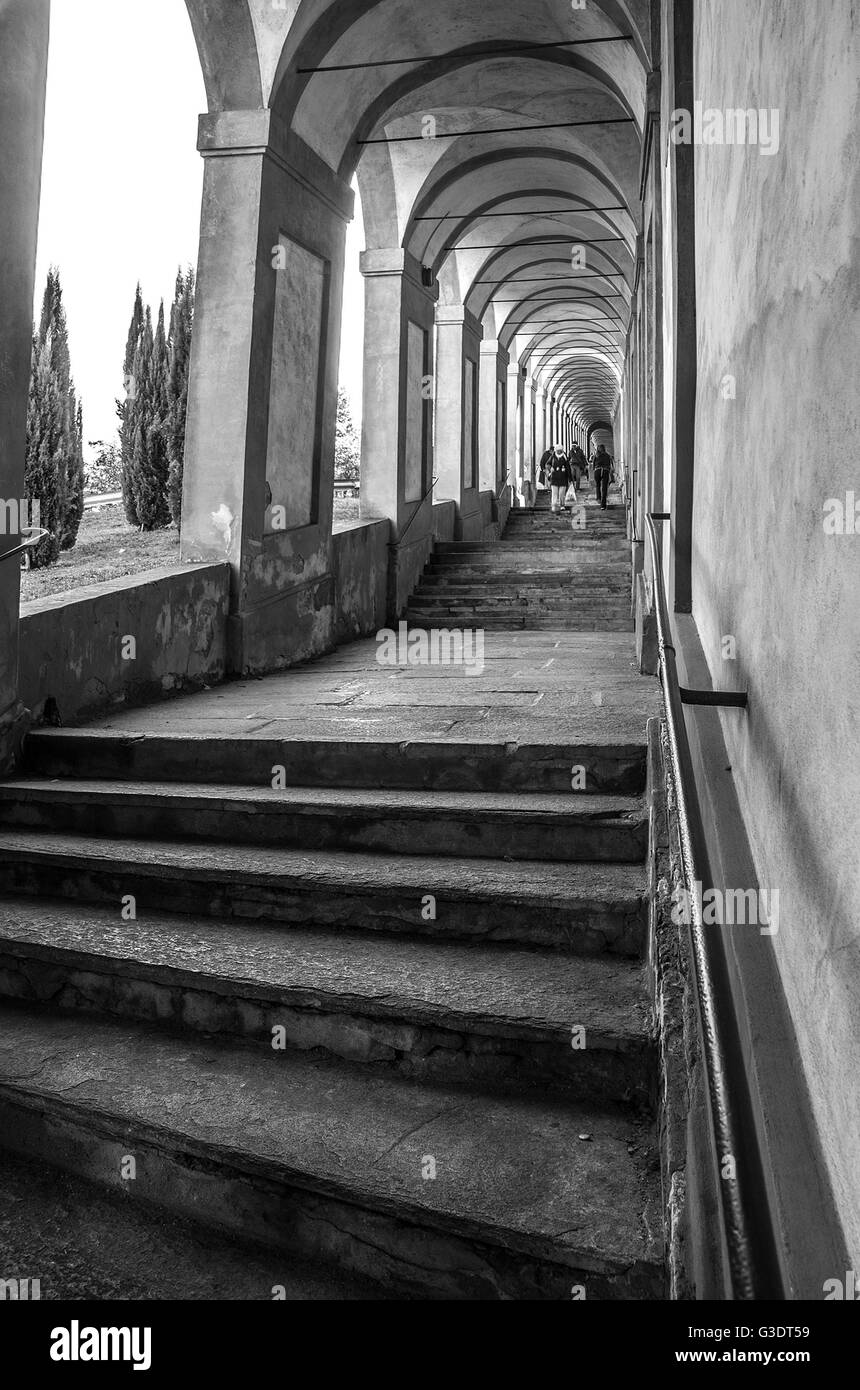 stairways of the arcades that lead to the sanctuary of San Luca in bologna - Emilia-Romagna - Italy - Stock Image