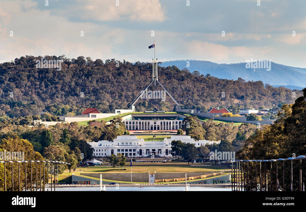 Close-up view of Canberra Capitol hill with New and Old Parliament houses on a line from ANZAC parade across Burley - Stock Image