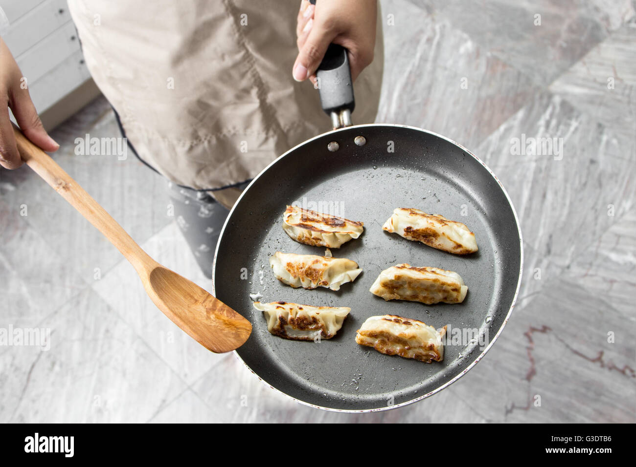 chef making gyoza japanese dumplings in frying pan stock photo