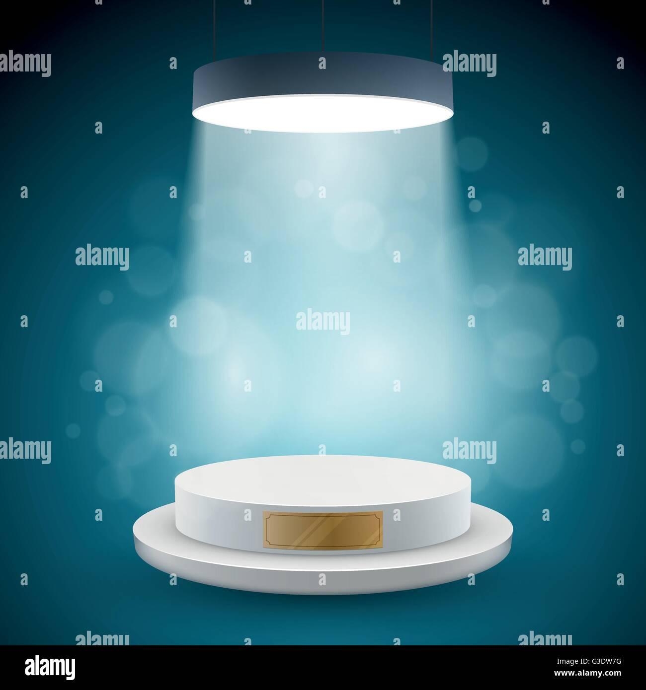 Illuminated white round podium vector illustration. Stock Vector