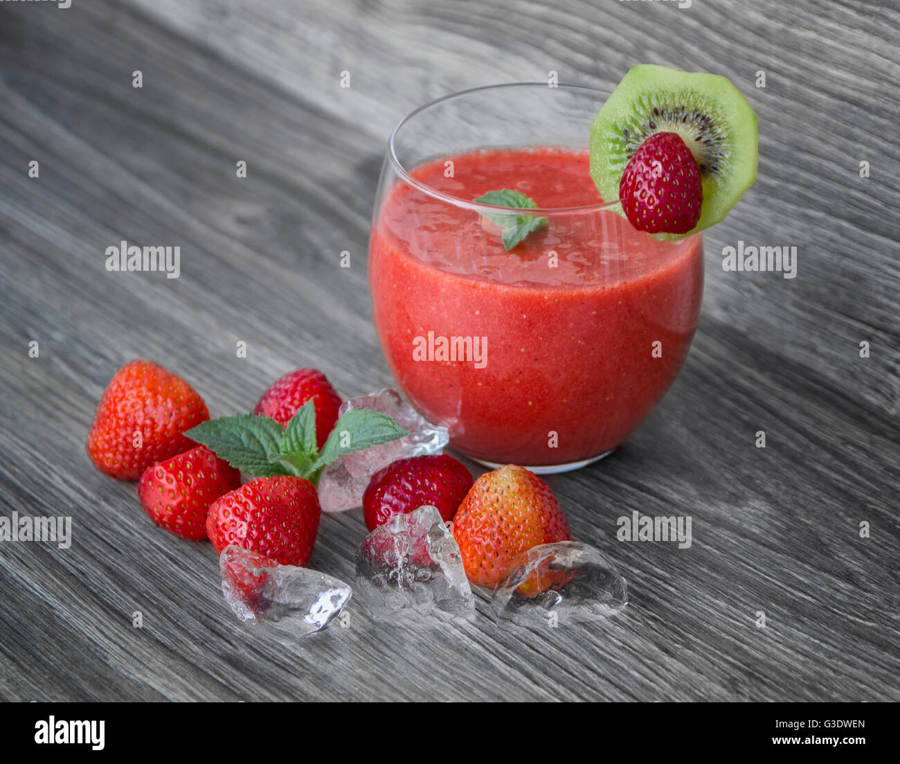 Strawberry smothie coctail - Stock Image