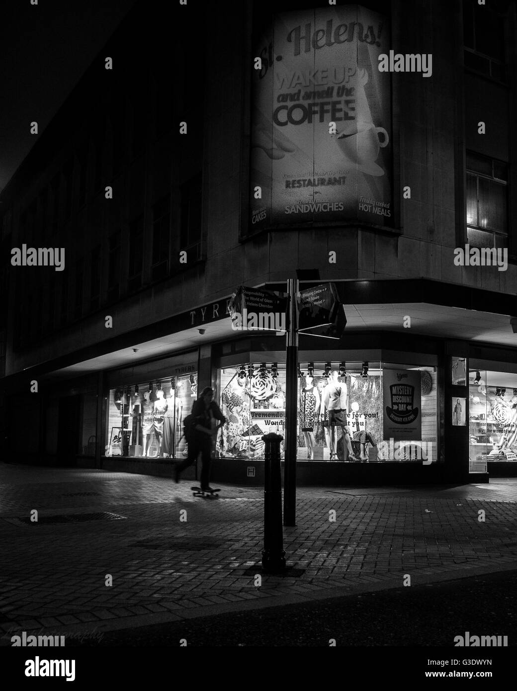 night photography in british town in monochrome Stock Photo