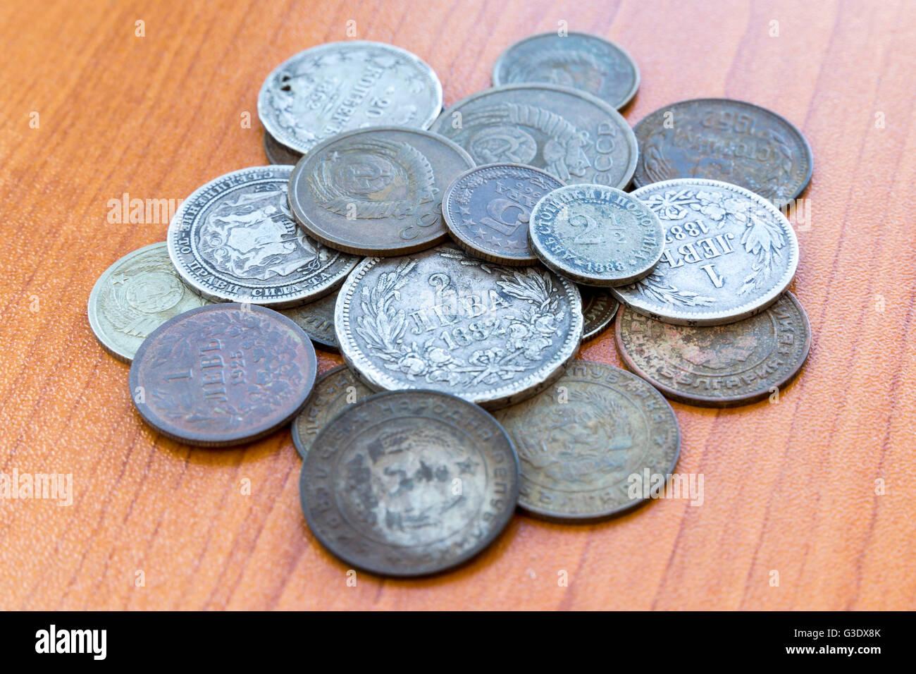 Silver coins, USSR coins. Old expired money. Bulgarian levas and Soviet Union Russian kopek, kopeck, copeck, kopeyka. Stock Photo