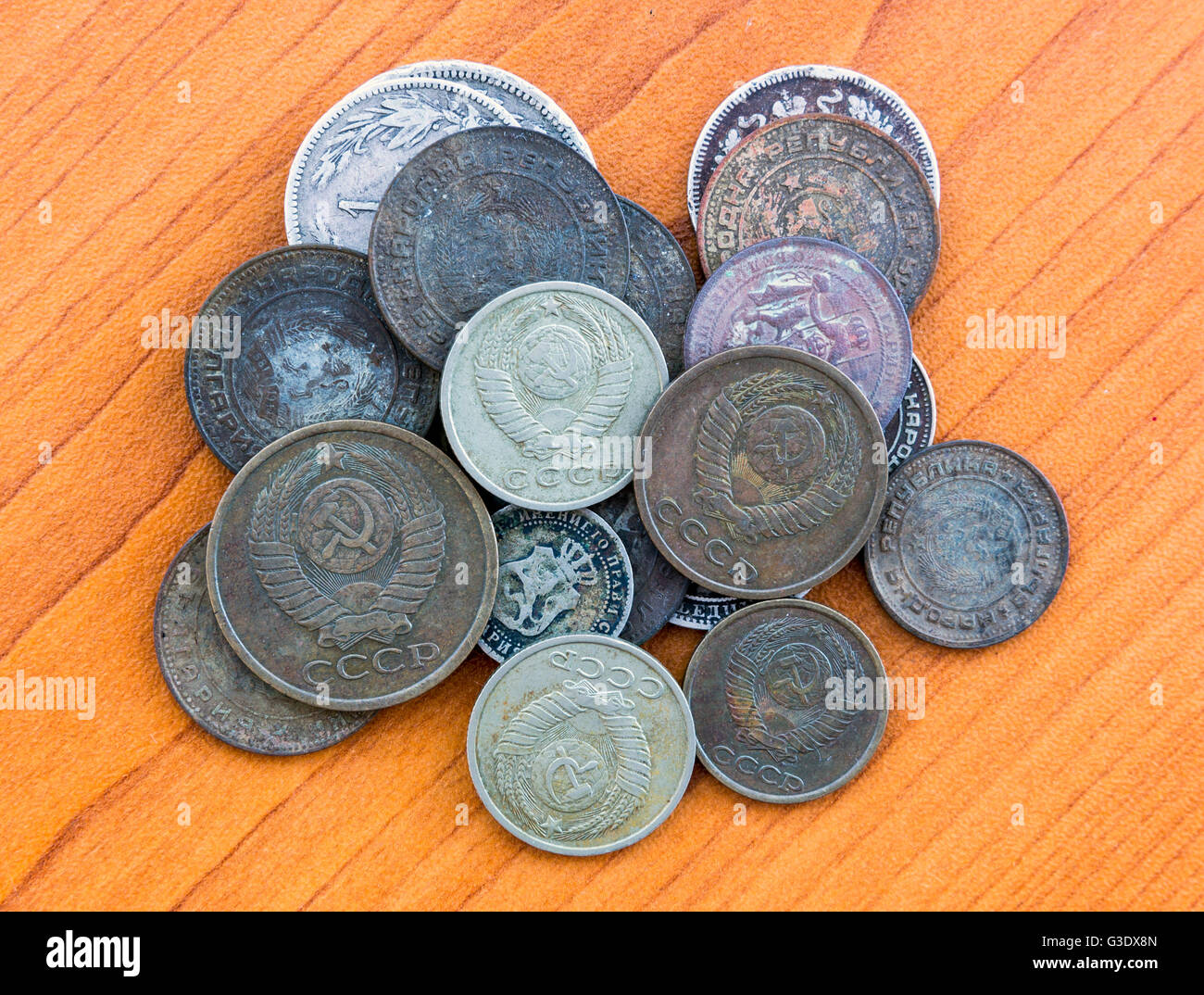 Silver coins, USSR coins. Old expired money. Bulgarian levas and Soviet Union Russian kopek, kopeck, copeck, kopeyka. Stock Photo