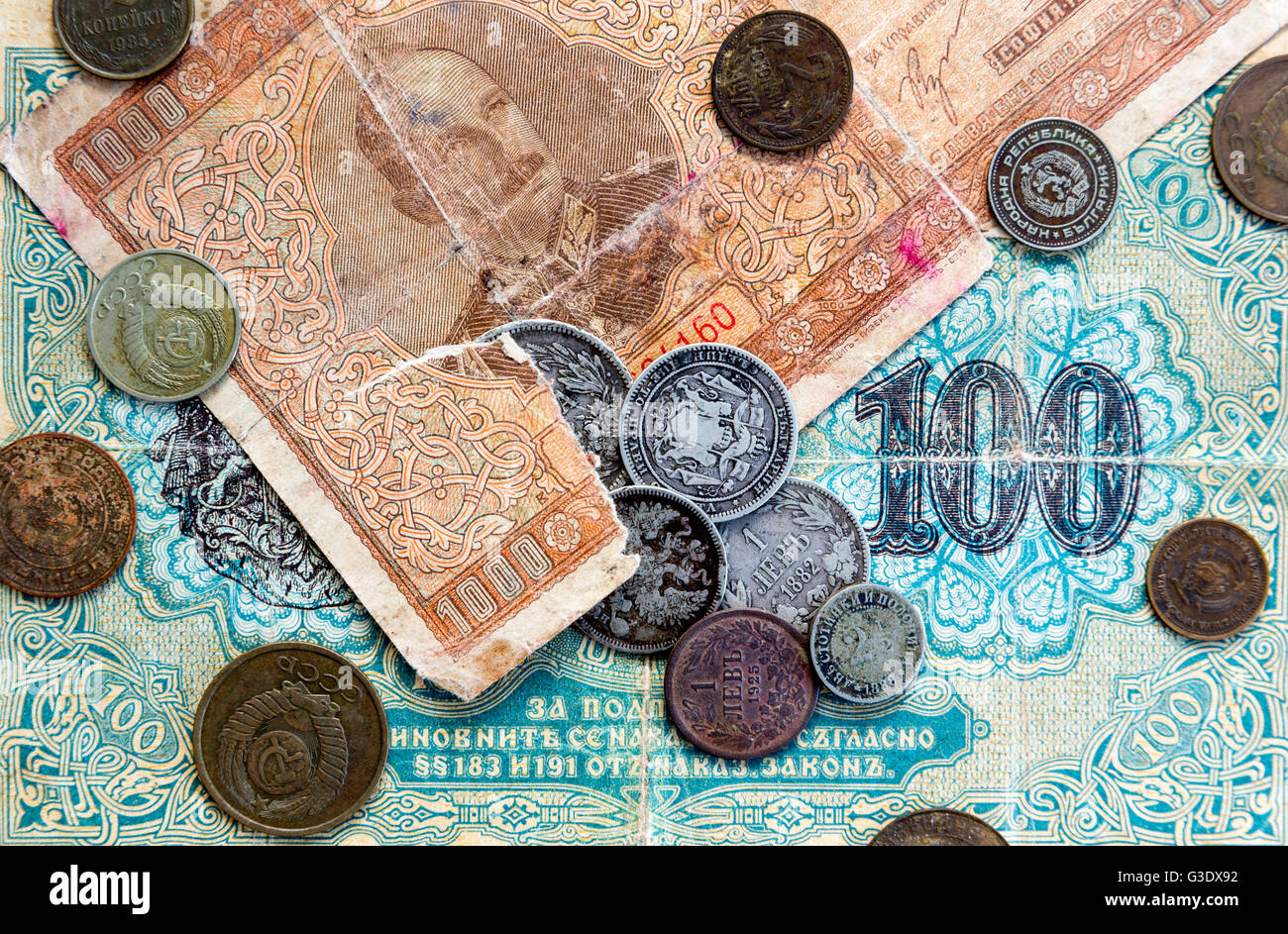 Silver coins, USSR coins and banknotes. Expired Bulgarian banknotes. Old expired money. Bulgarian leva and Soviet Stock Photo