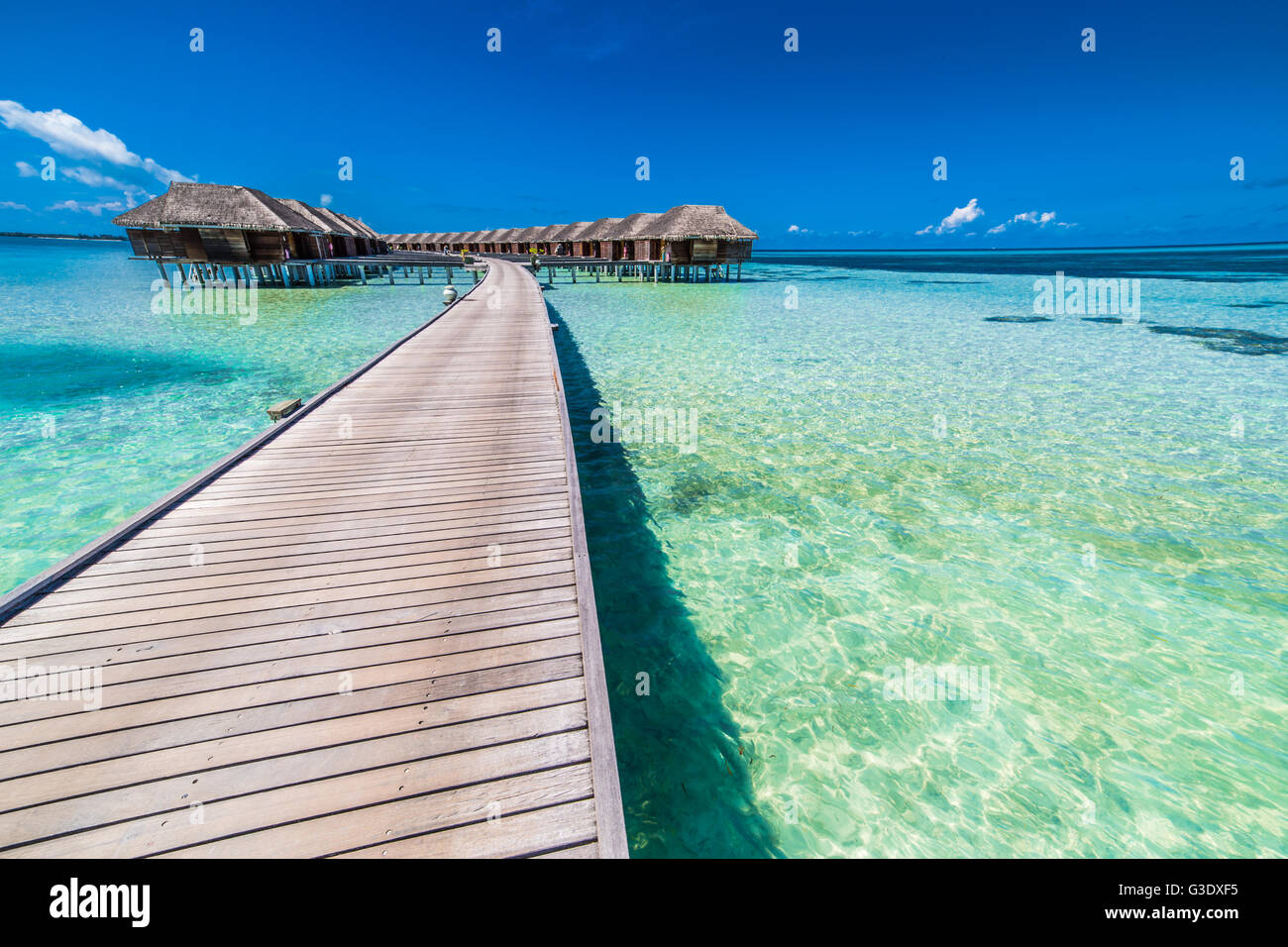 Amazing water villas on tropical and exotic, luxury island, Maldives - Stock Image