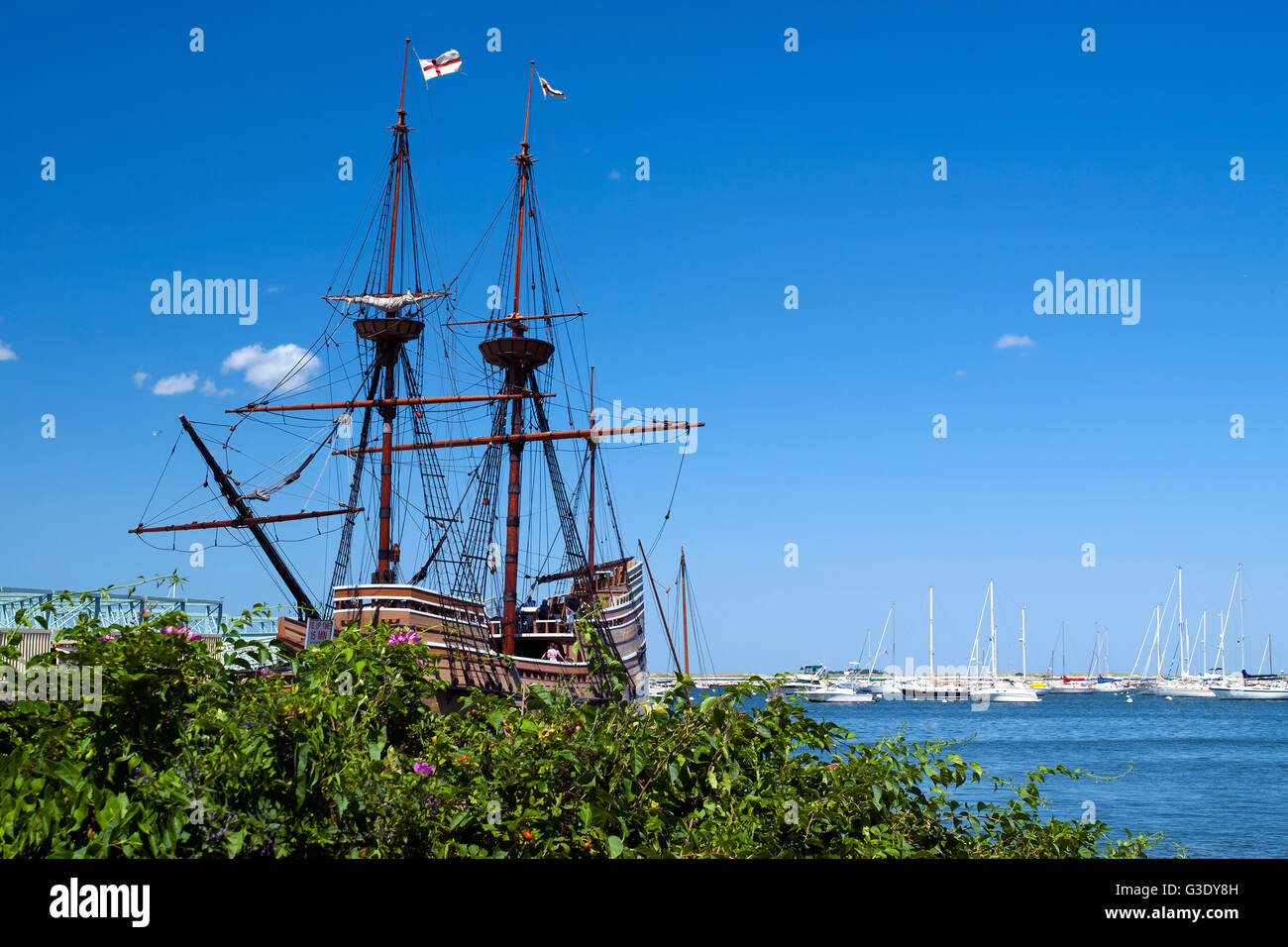 The replica of the Mayflower, named the Mayflower II lies in Plymouth Harbor in Massachusetts and is a favorite Stock Photo