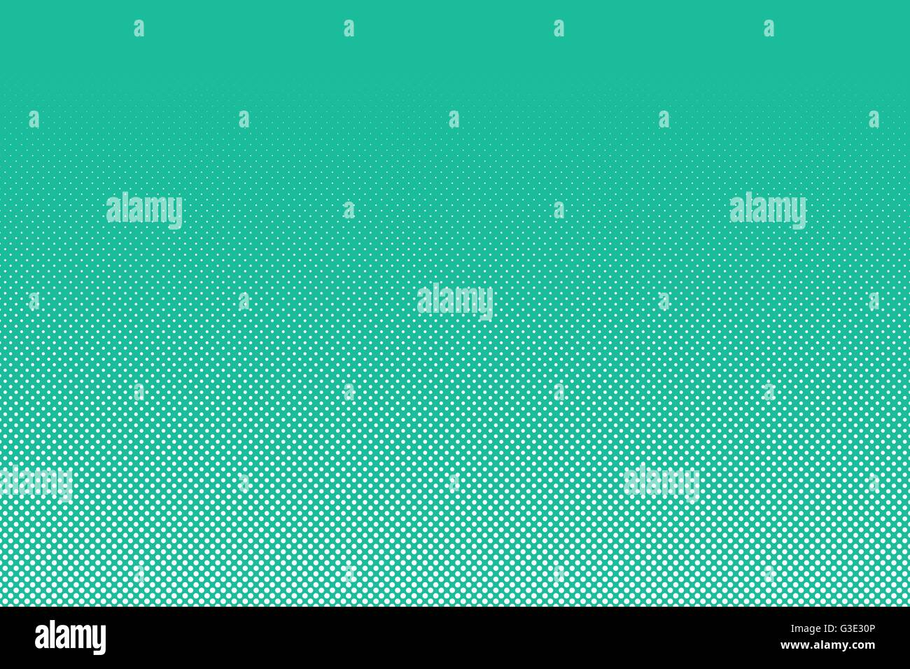 Abstract dotted background. White dots on turquoise background. Vector illustration of abstract polka dots pattern - Stock Image