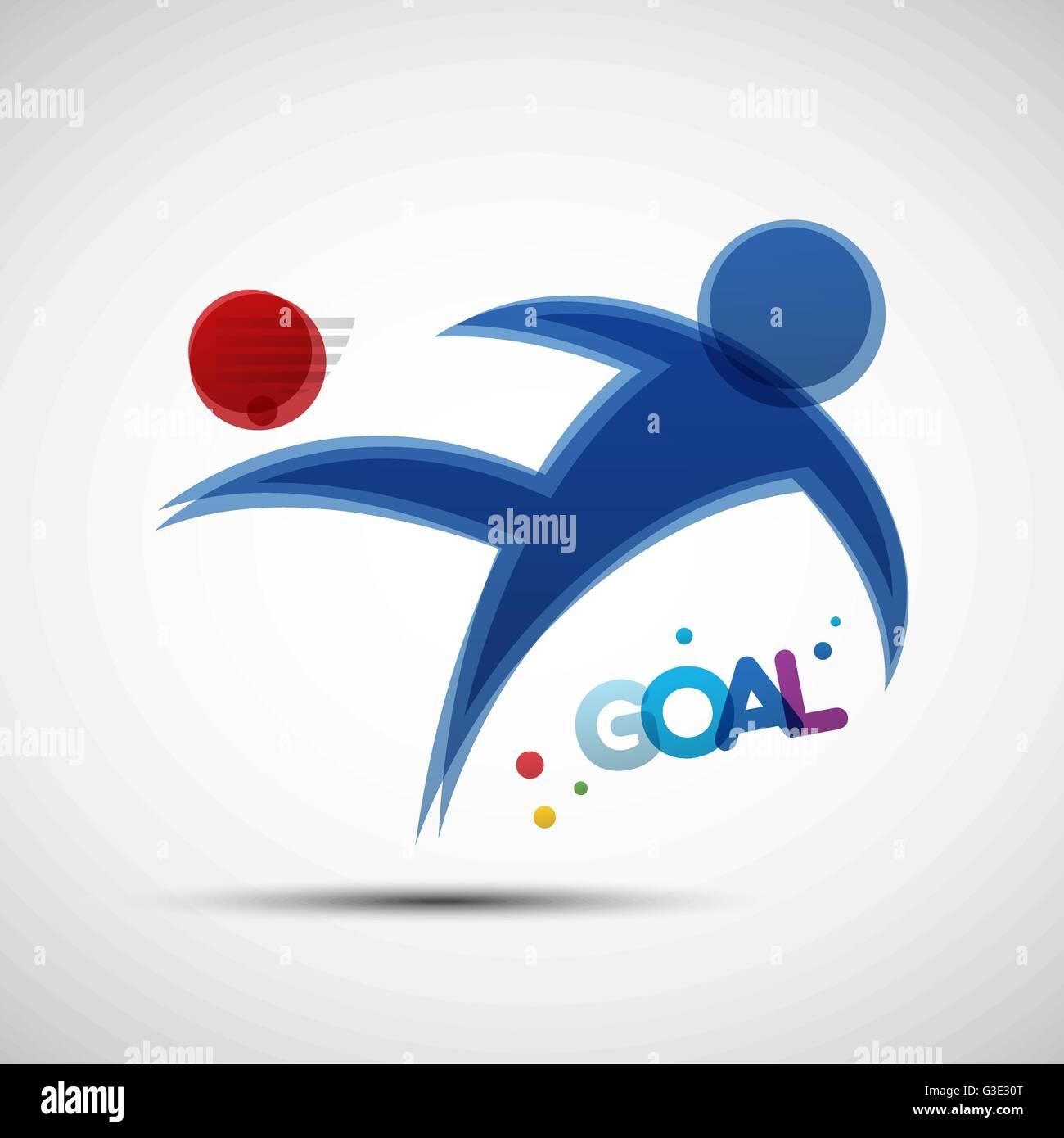 Football championship banner. Soccer player kicks the ball. Vector illustration of abstract footballer silhouette - Stock Vector