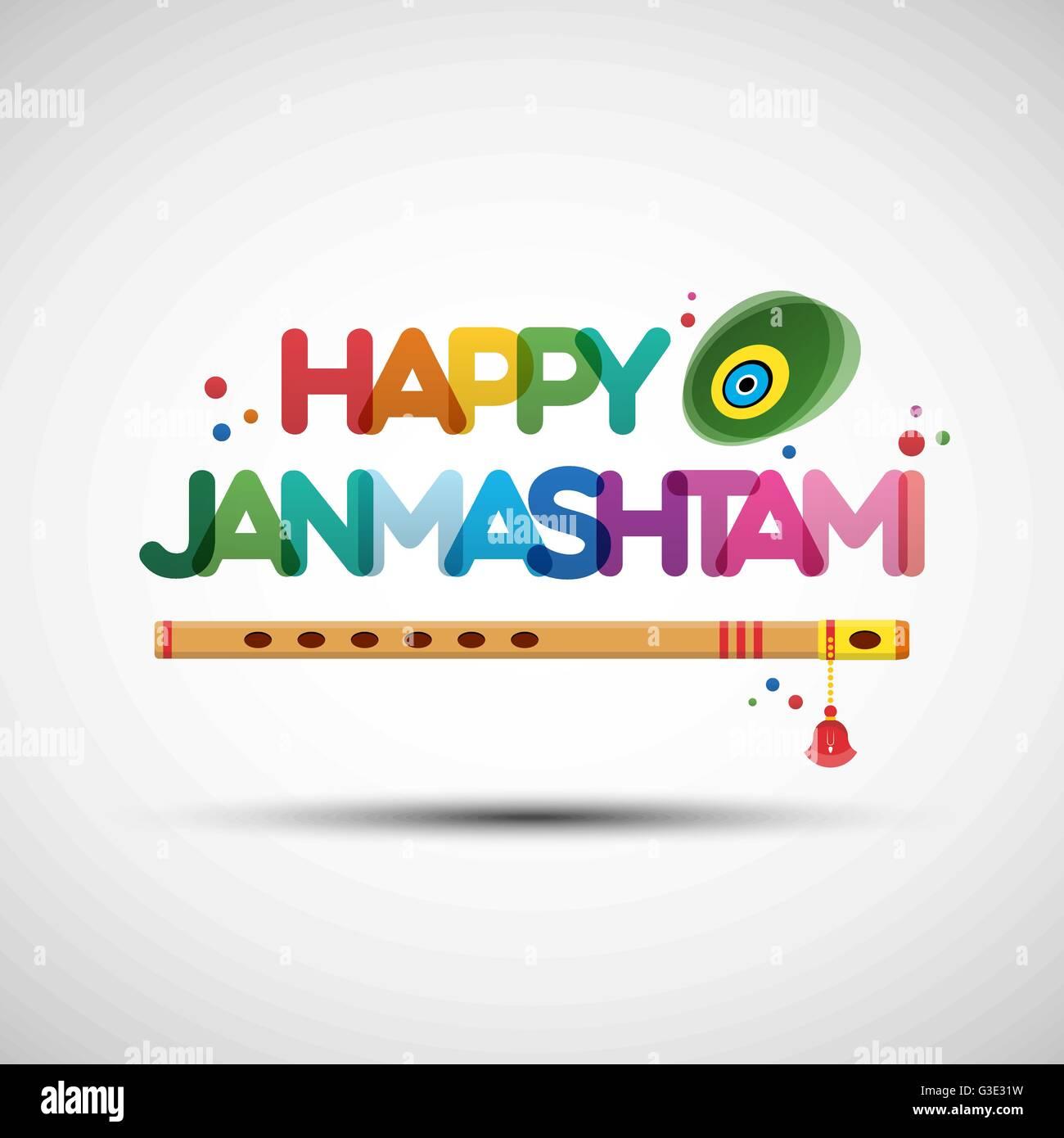 Vector illustration of krishna janmashtami greeting card design vector illustration of krishna janmashtami greeting card design with creative multicolored transparent text happy janmashtami m4hsunfo