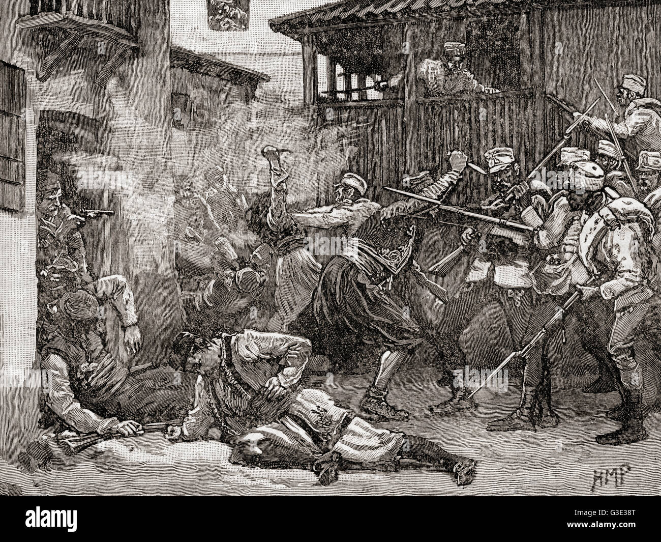 Street battle in Sarajevo, 1878, between the Austro-Hungarian army and the Ottoman supported local resistance. Occupation - Stock Image