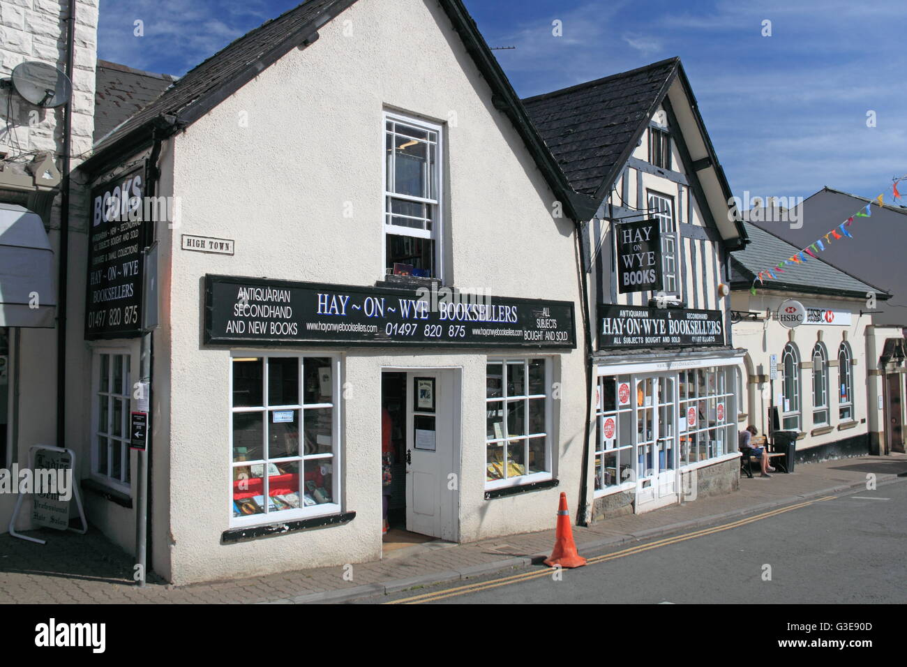 Hay-on-Wye Booksellers, Castle Street, Hay-on-Wye, Powys, Wales, Great Britain, United Kingdom, UK, Europe - Stock Image