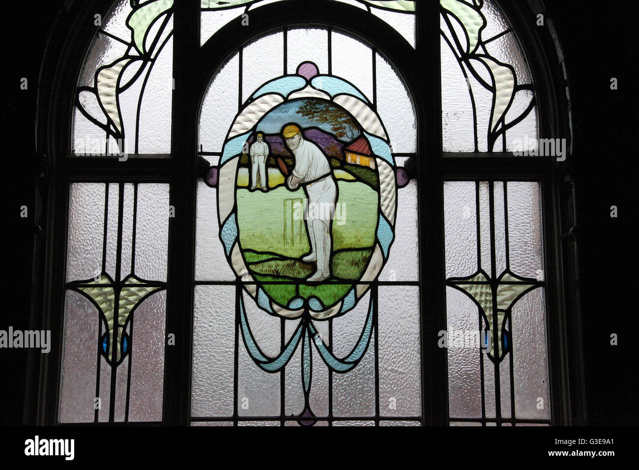 Stained glass window at Victoria Baths in Manchester - Stock Image