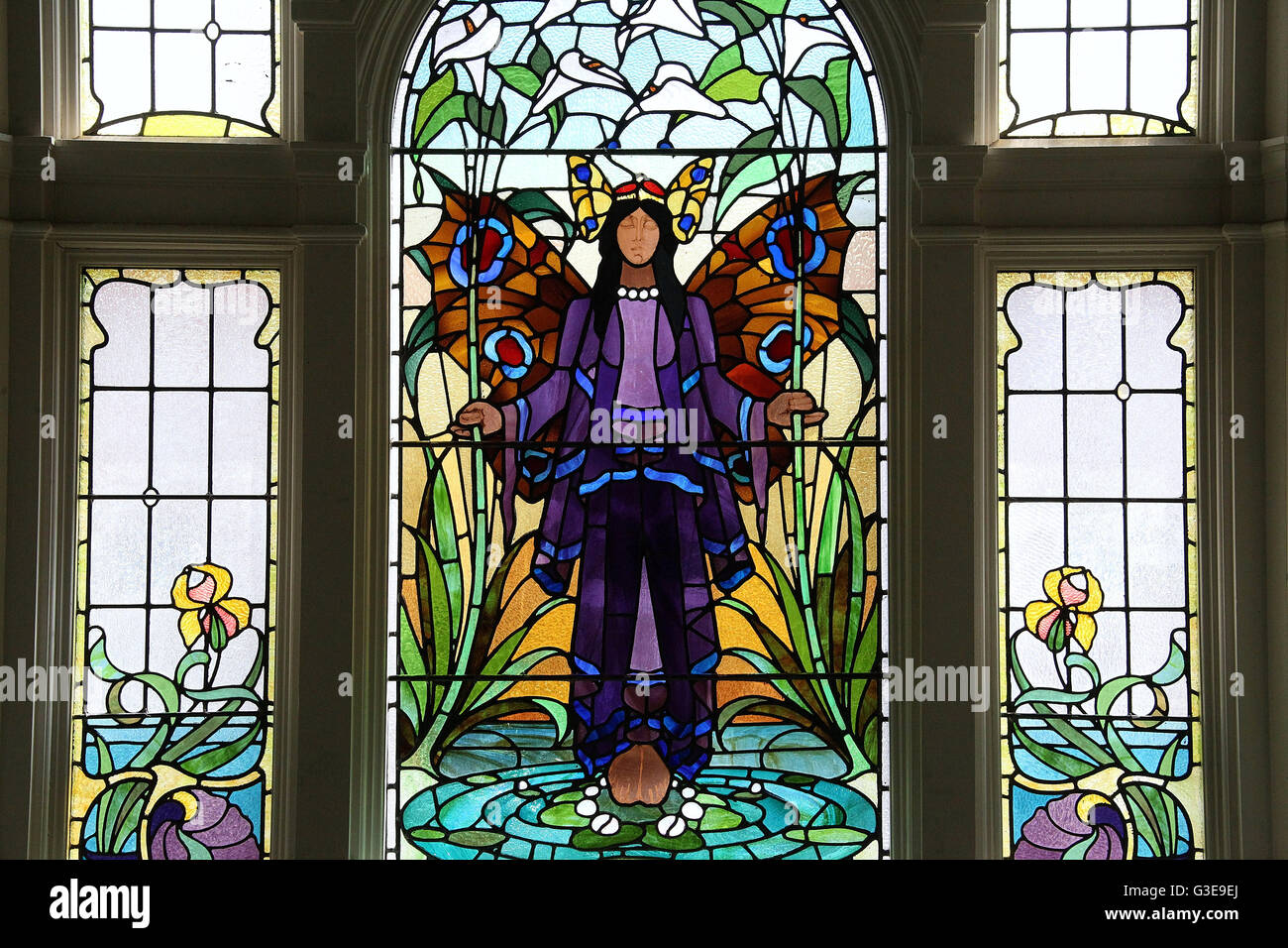 Angel of Purity Stained Glass Window at Victoria Baths in Manchester - Stock Image