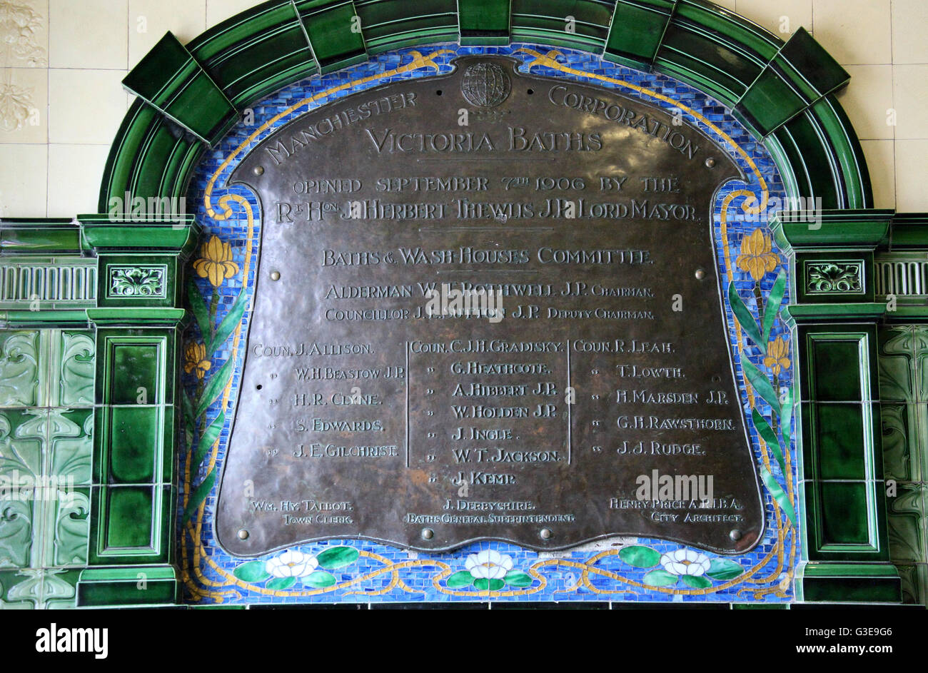 Plaque at Victoria Baths in Manchester - Stock Image