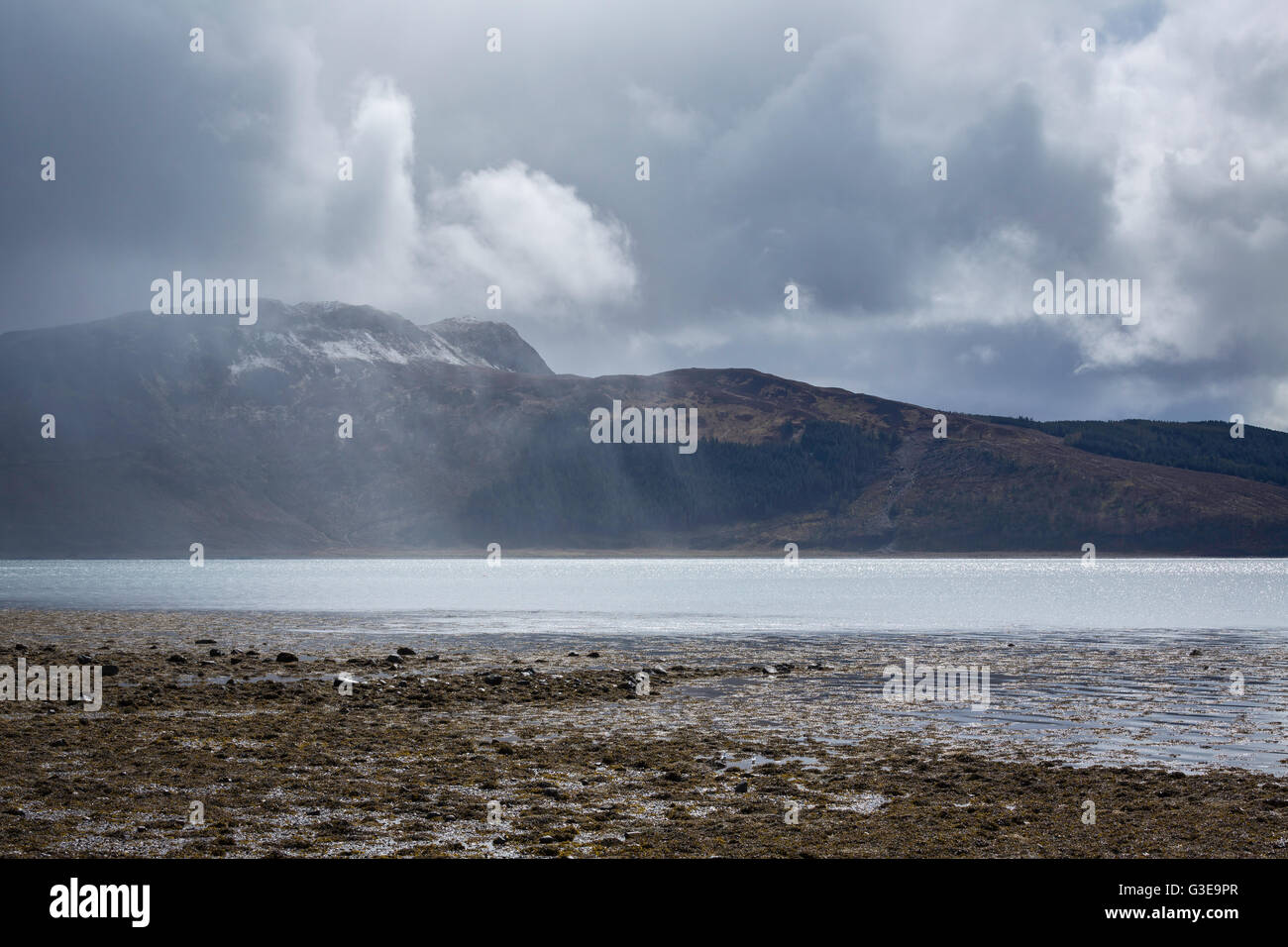 Rain squall over Loch Alsh and Ardintoul Bay, Western Highlands, Scotland - Stock Image