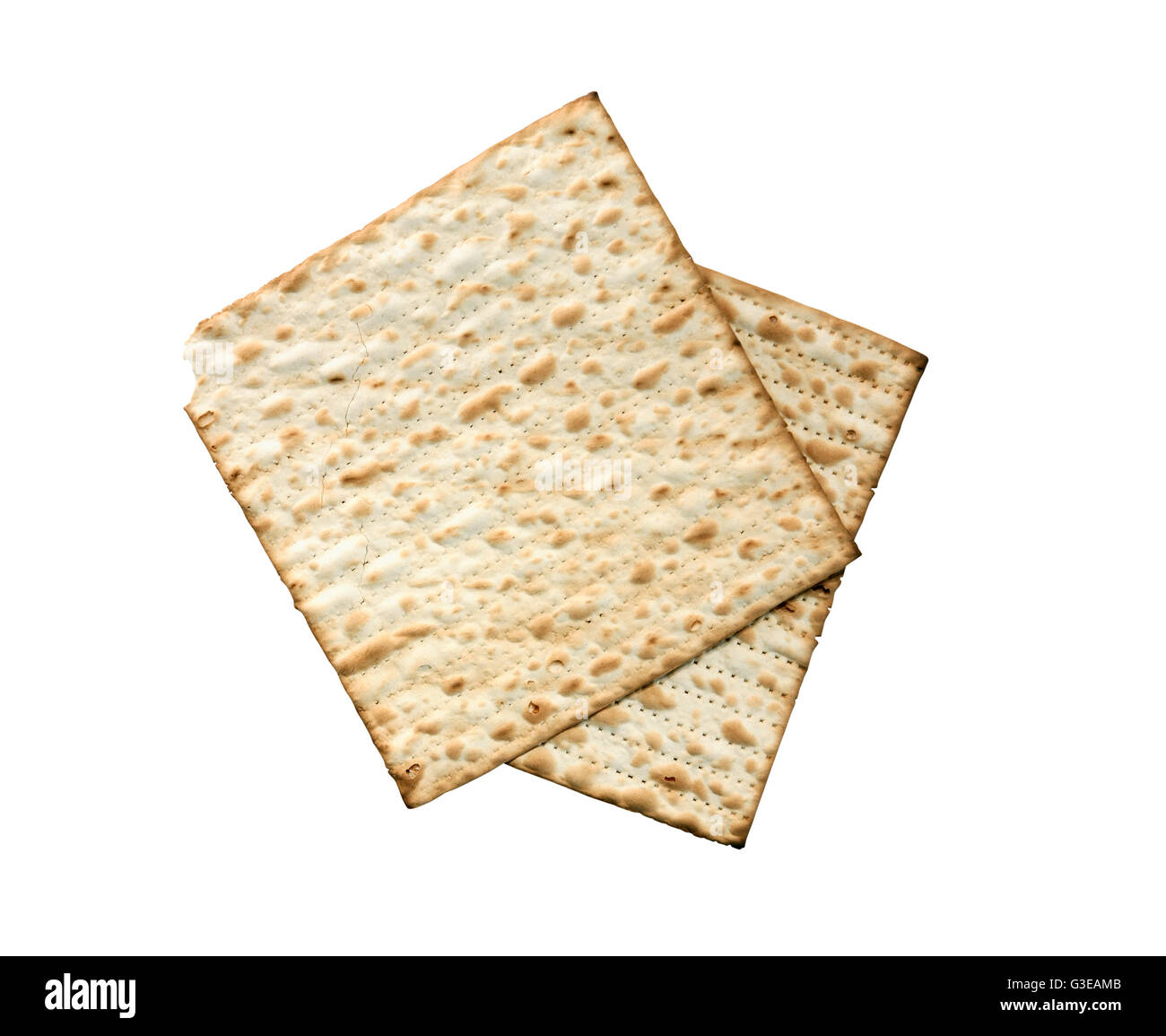 Seder concept. Matzo isolated on white background with clipping path - Stock Image