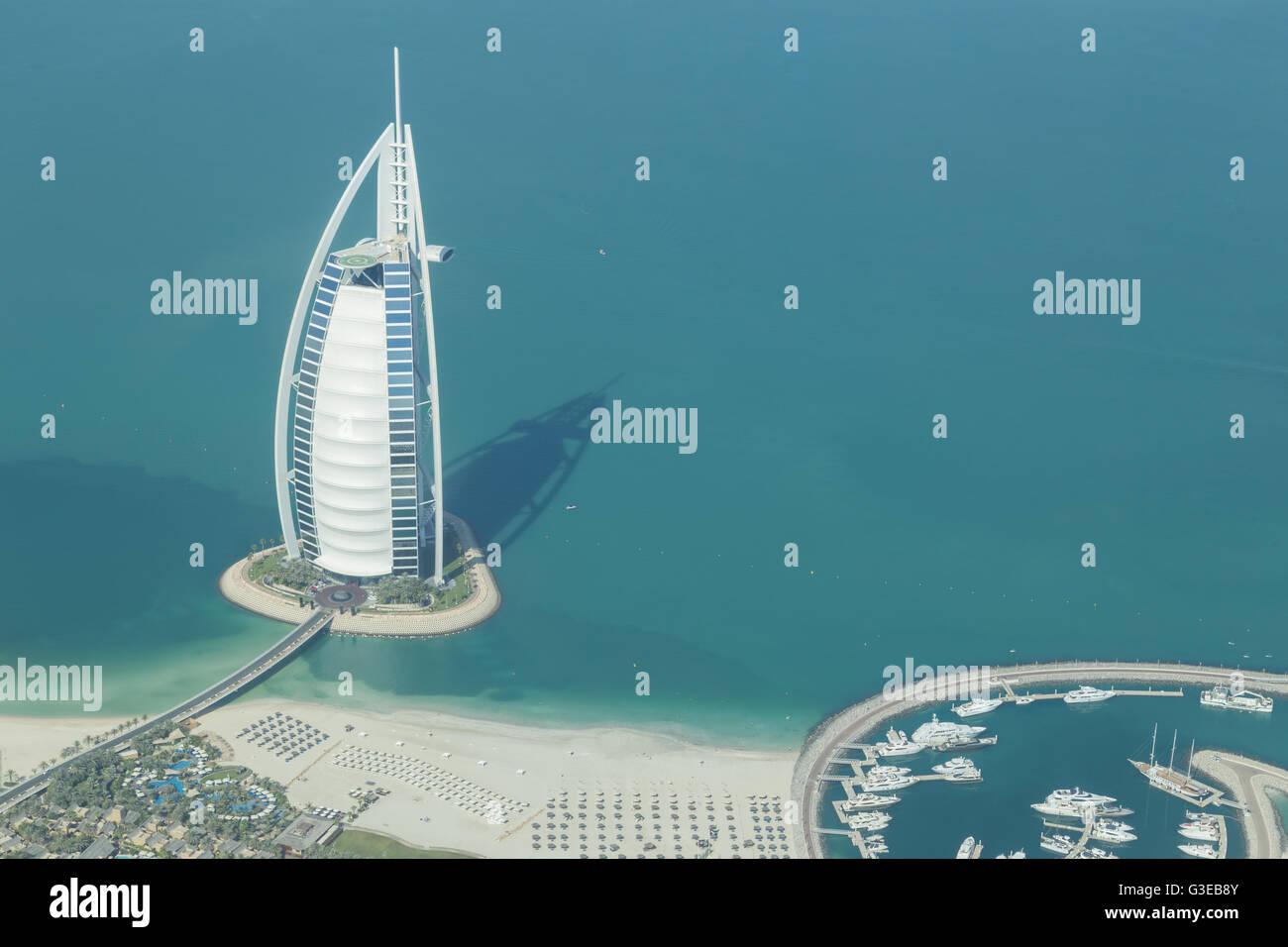 Dubai, United Arab Emirates - October 17, 2014: Photograph of the famous Burj Al Arab hotel in Dubai taken from - Stock Image