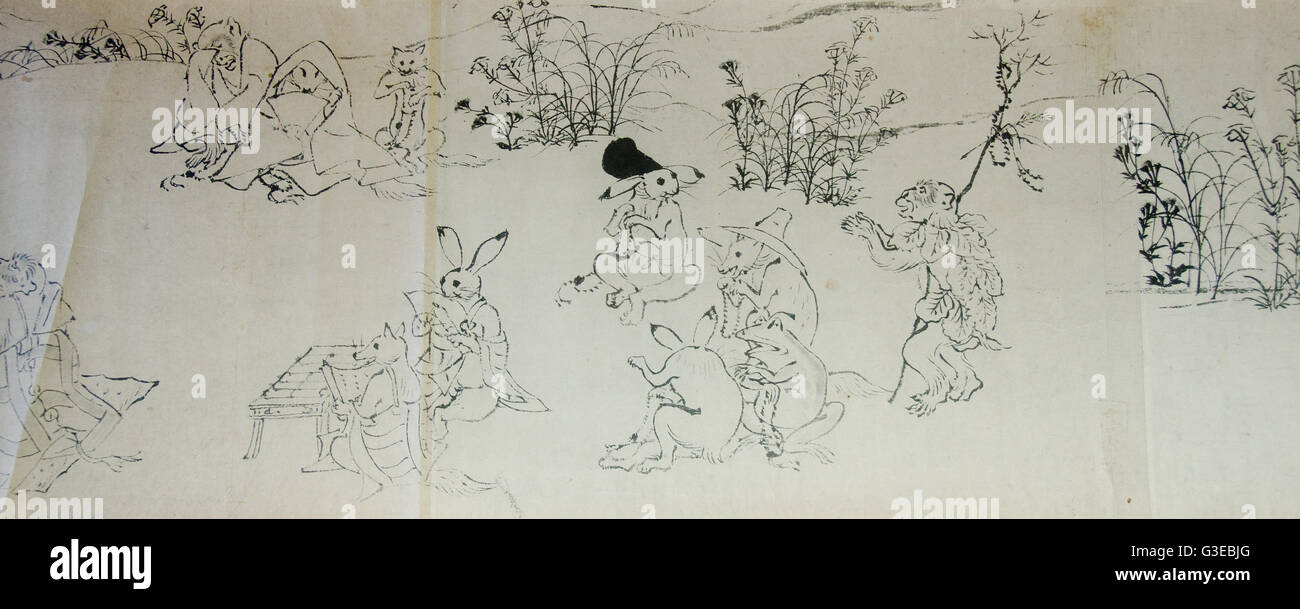 Chōjū-jinbutsu-giga picture scroll with ink paintings and animal caricatures - Stock Image