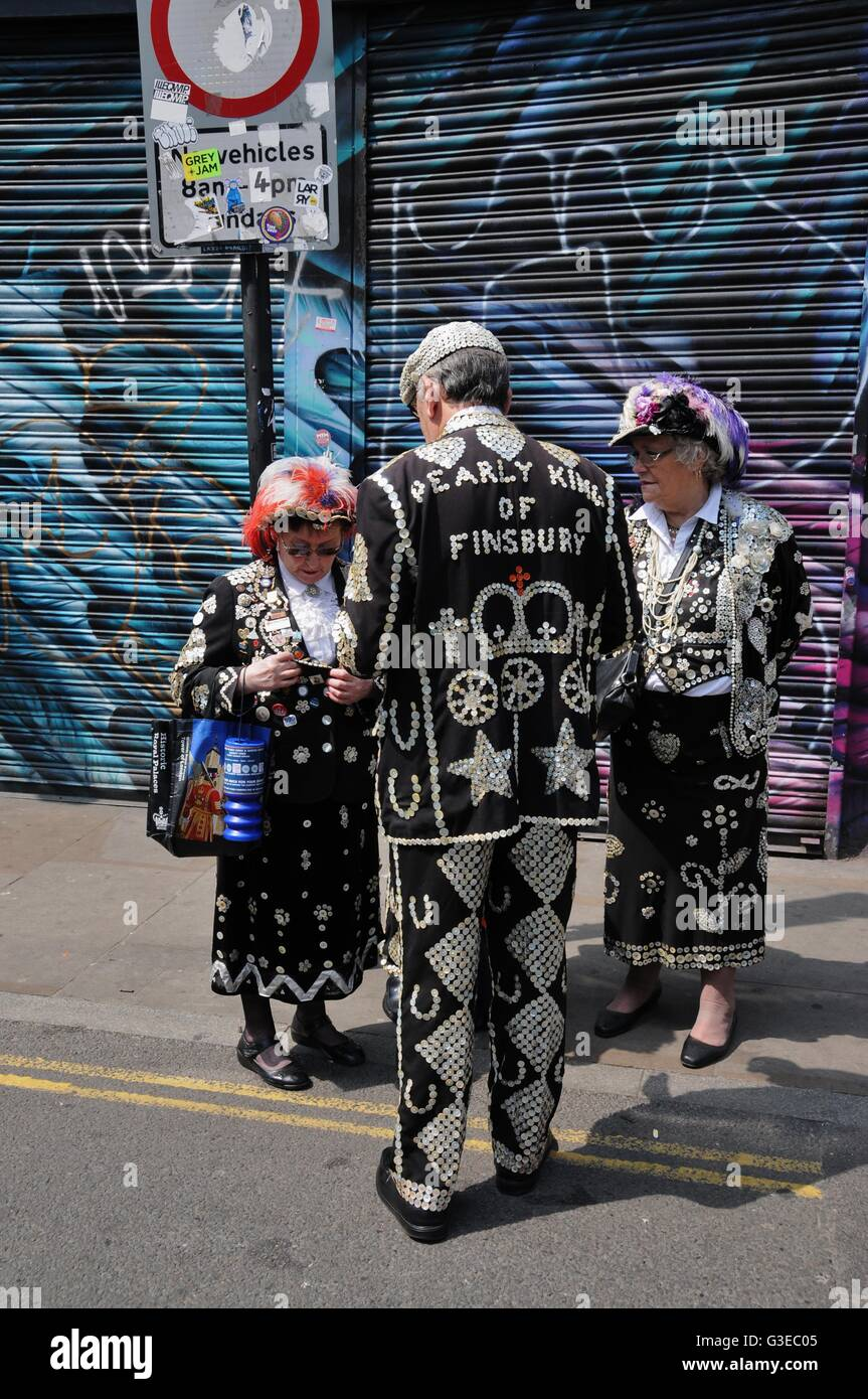Pearly kings and queens in east London Stock Photo
