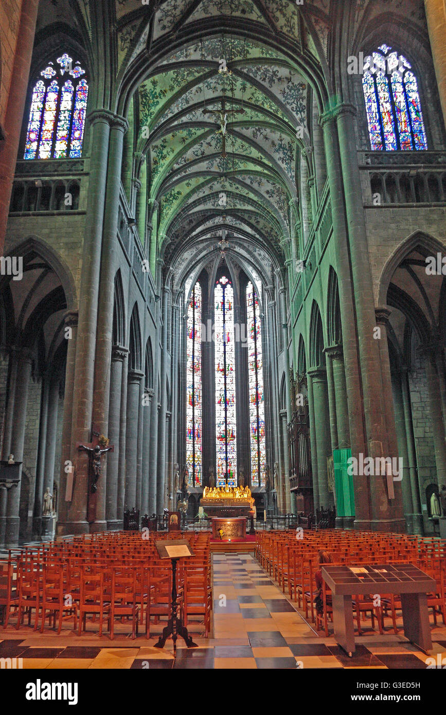Inside the Collégiale Notre-Dame et Saint-Domitien ( Notre-Dame and St. Domitian) in Huy, Belgium. Stock Photo