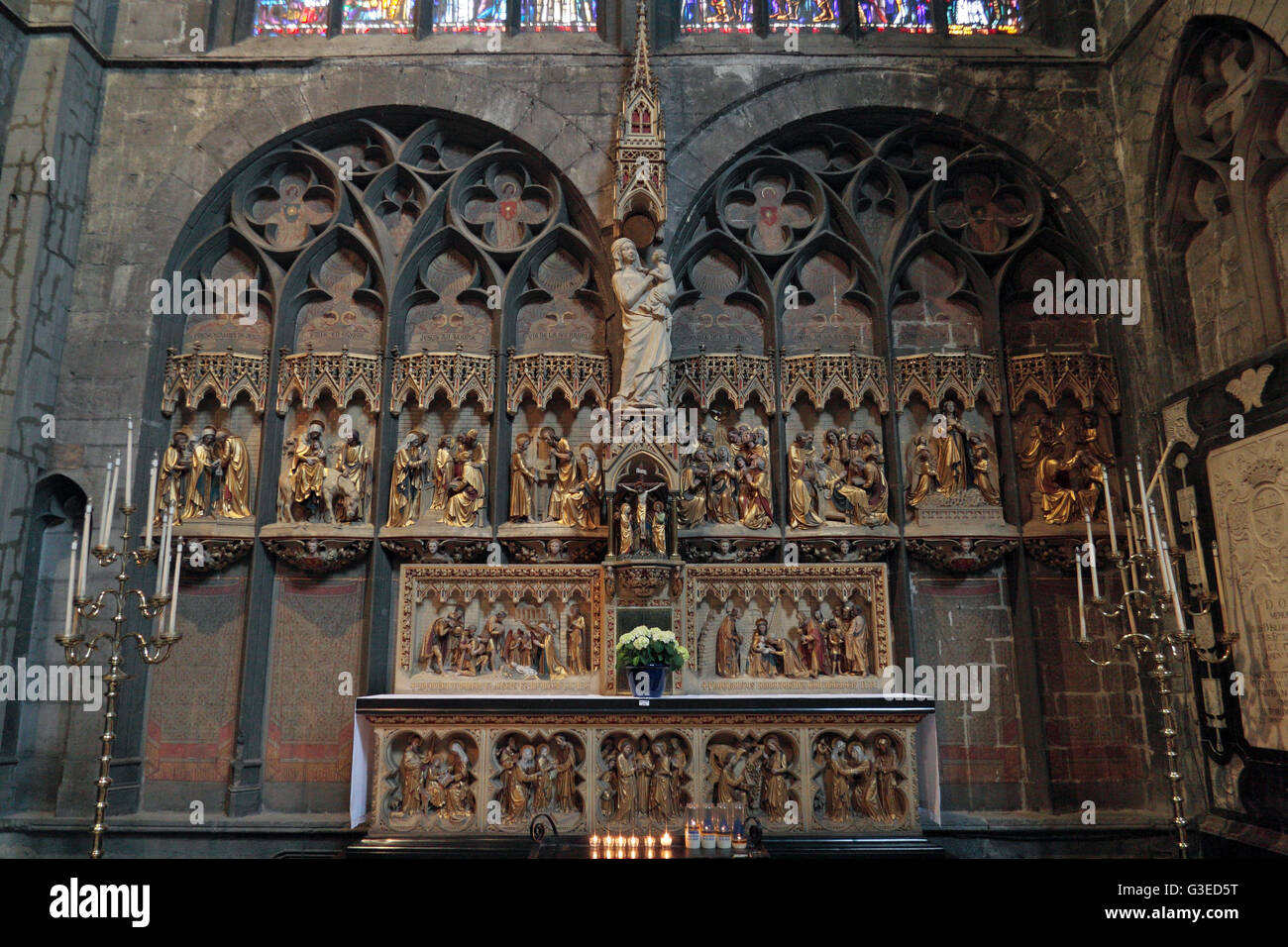 The Bethlehem gate (screen) inside the Collégiale Notre-Dame et Saint-Domitien (Notre-Dame and St. Domitian) in Stock Photo