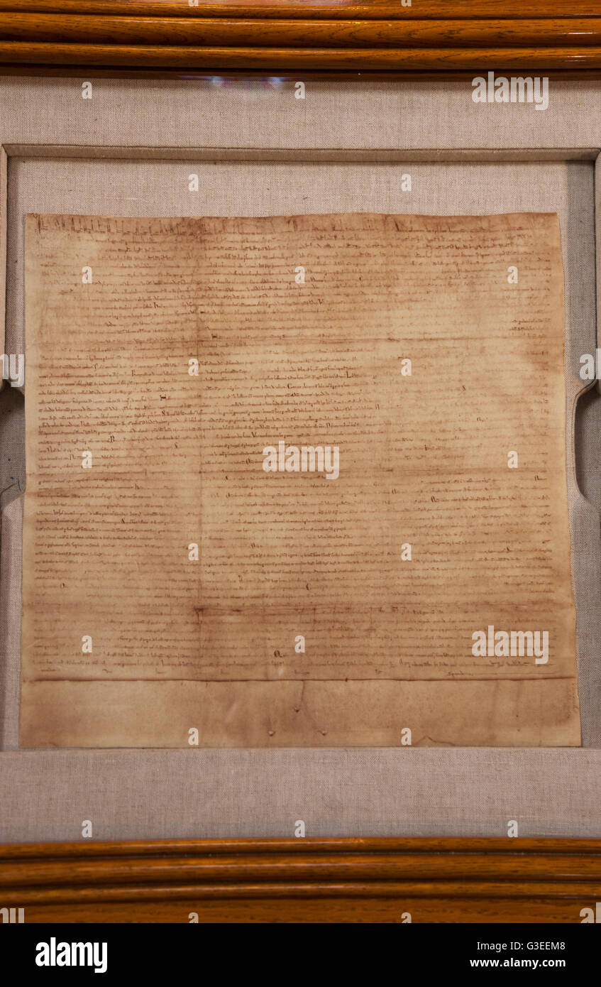 Lincoln Cathedral's facsimile duplicate replica reproduction copy of the original Magna Carta, inside the Cathedral. - Stock Image