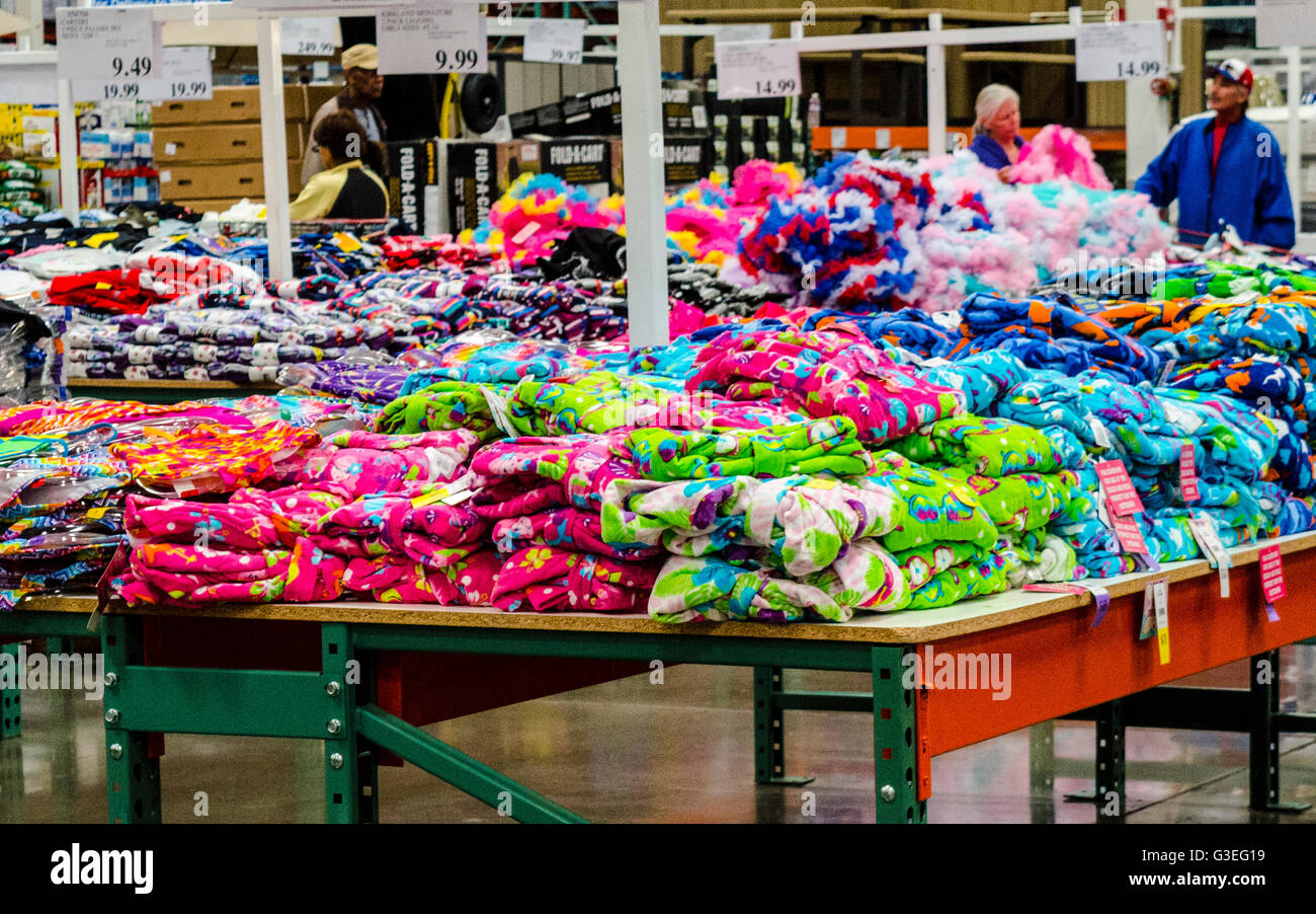 Brightly Colored Clothing On Tables At A Costco Store In San Leandro California