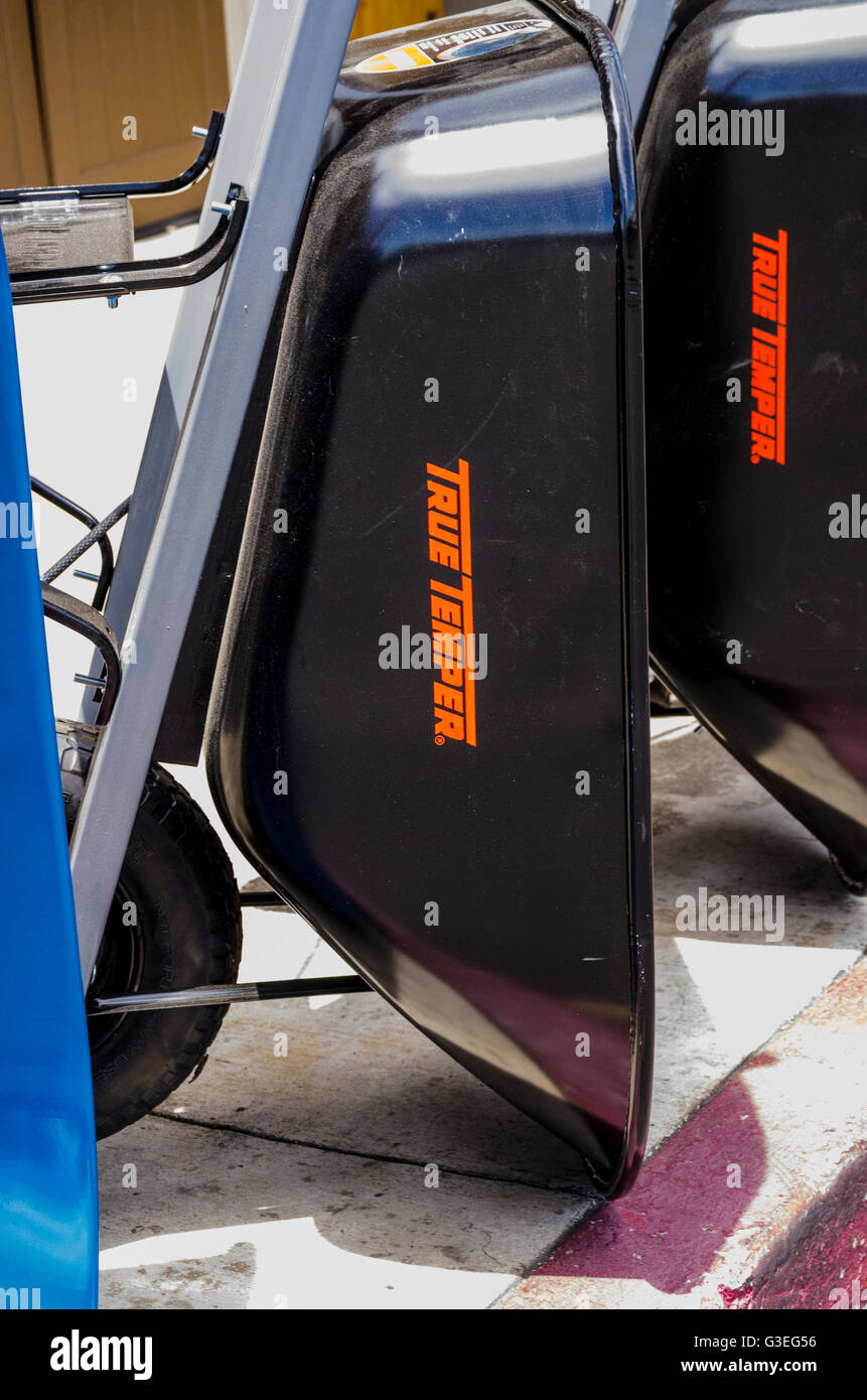 New Wheelbarrows at a hardware store in San Leandro California - Stock Image