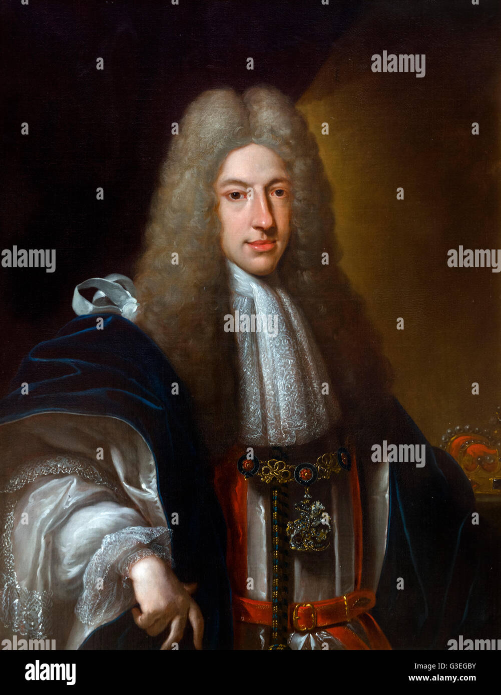 Prince James Francis Edward Stuart (1688-1766), nicknamed the Old Pretender, was the son of the deposed James II - Stock Image