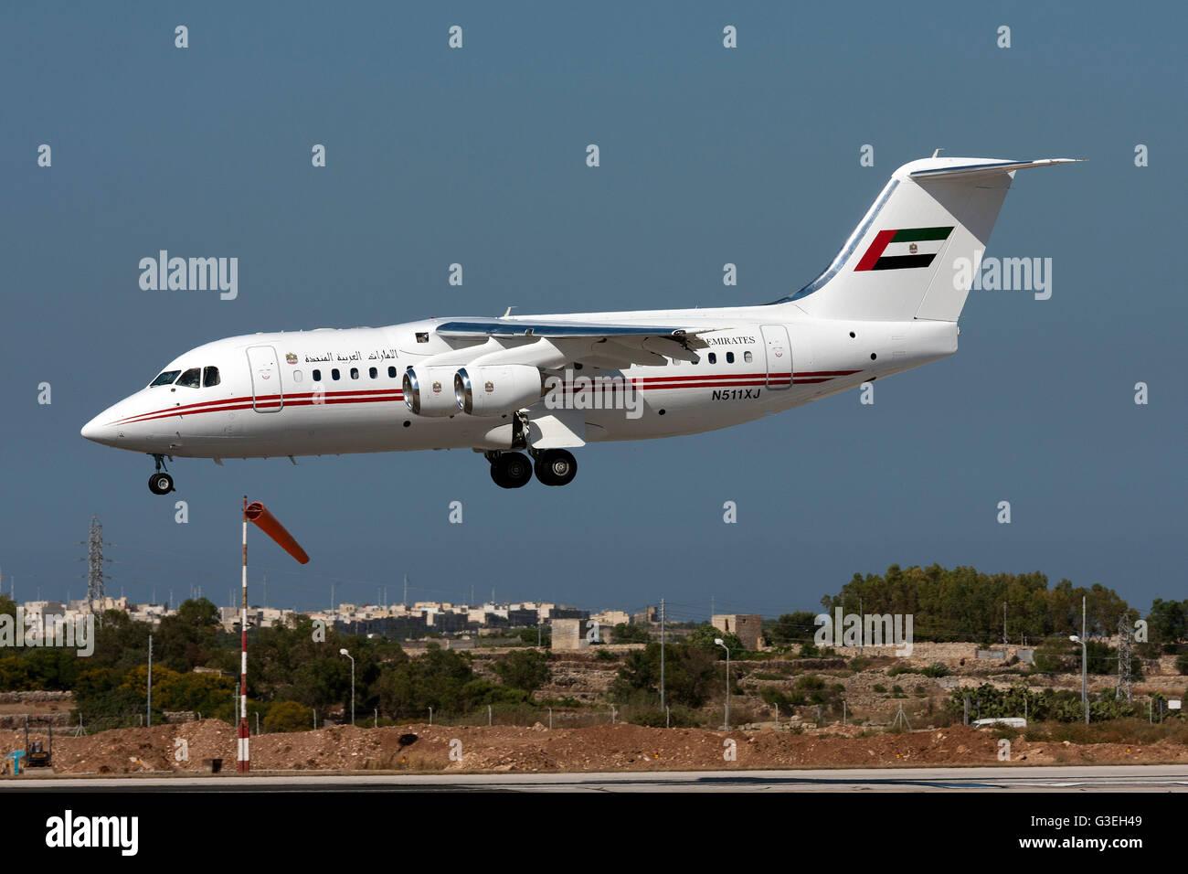 United Arab Emirates (Dubai Air Wing) British Aerospace Avro 146-RJ85A landing runway 31. Stock Photo