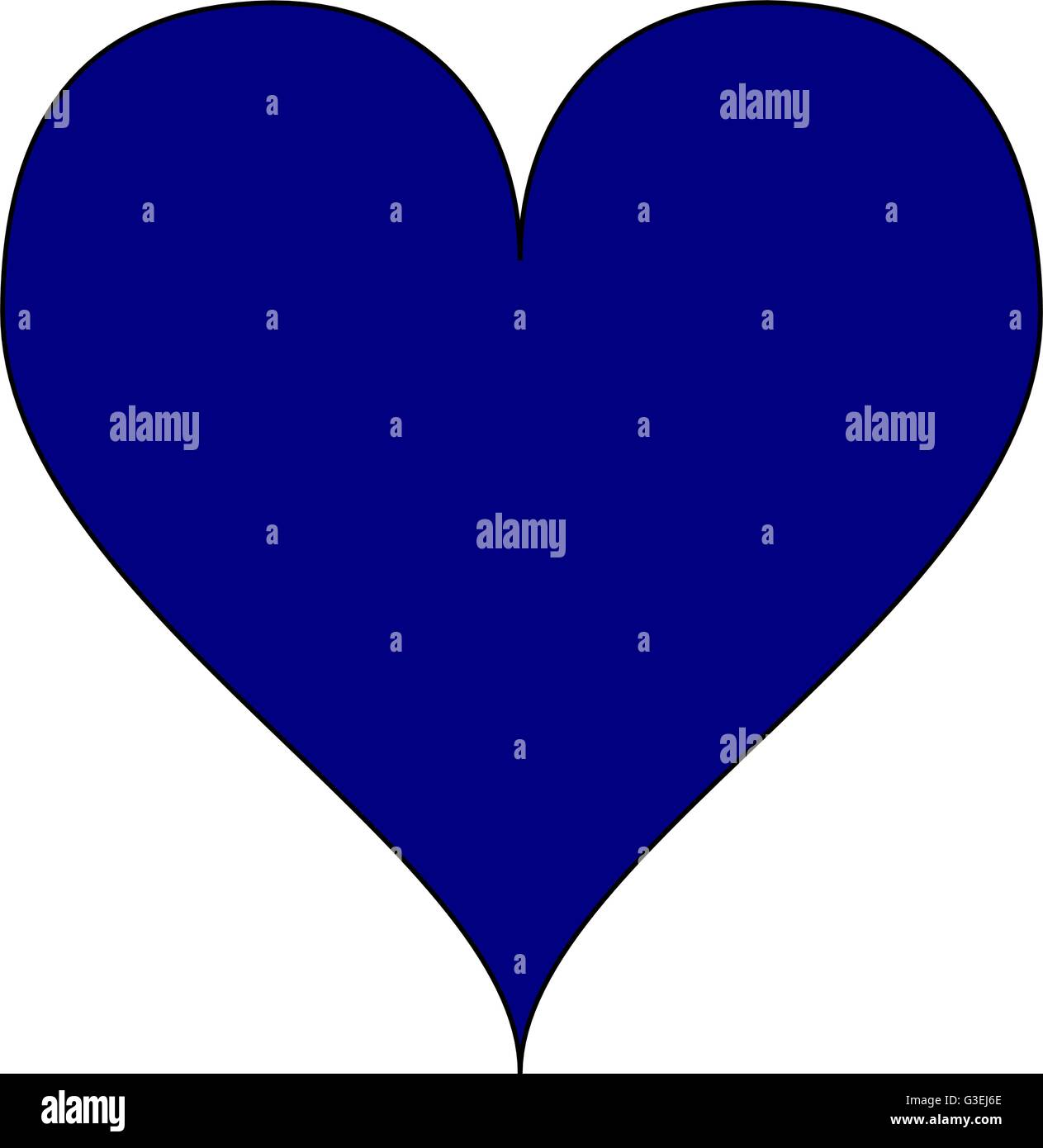 Simple Navy Blue Heart Isolated Over A White Background Vector