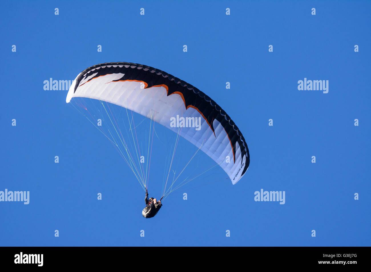 paraglider, Austria, Niederösterreich, Lower Austria, Wiener Alpen, Naturpark Hohe Wand Stock Photo