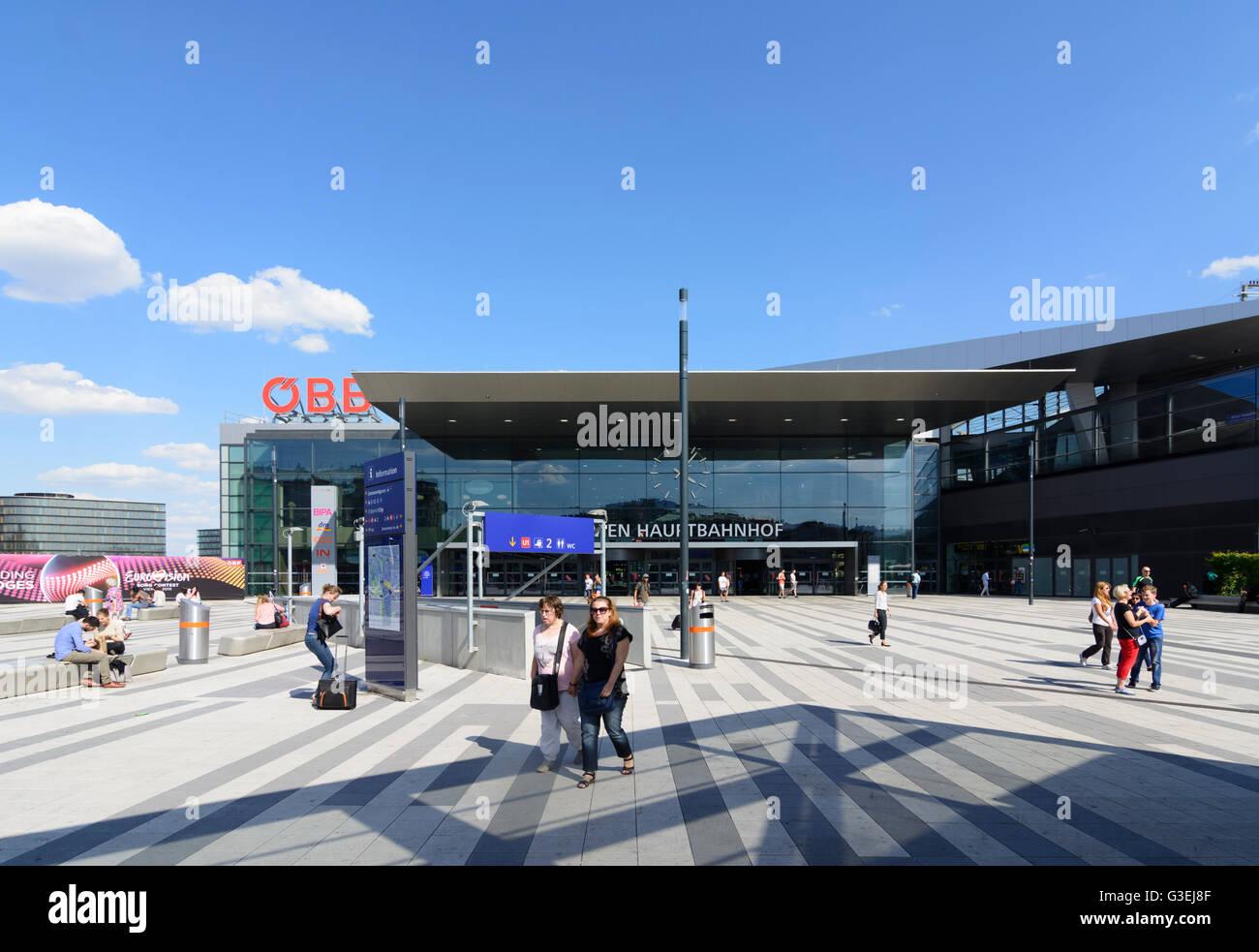 railway station Wien Hauptbahnhof of Austrian Railways ÖBB, Austria, Wien, 10., Wien, Vienna - Stock Image