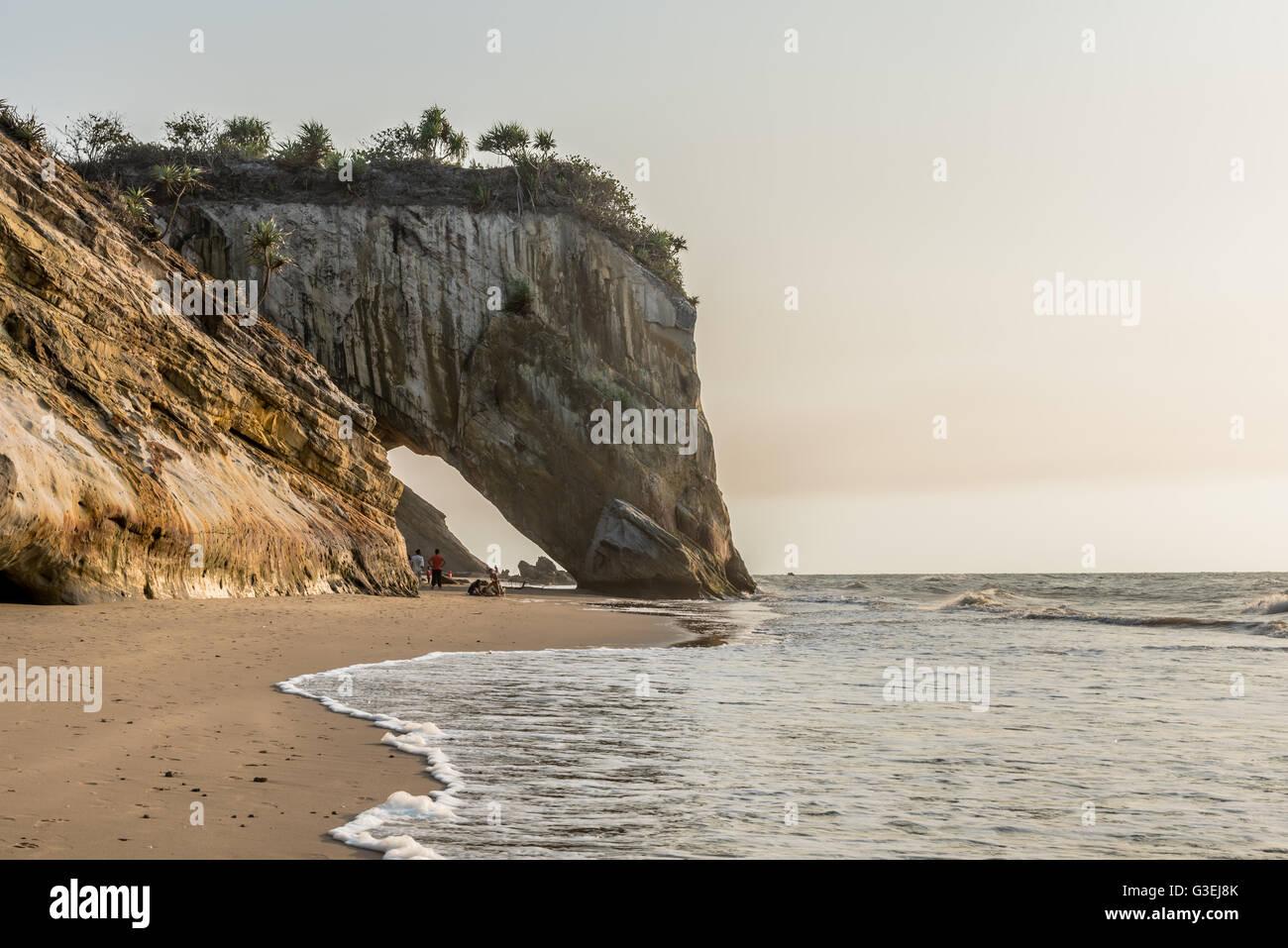 Tusan Cliff, rock formation on the Tusan Beach in Miri during sunset. - Stock Image