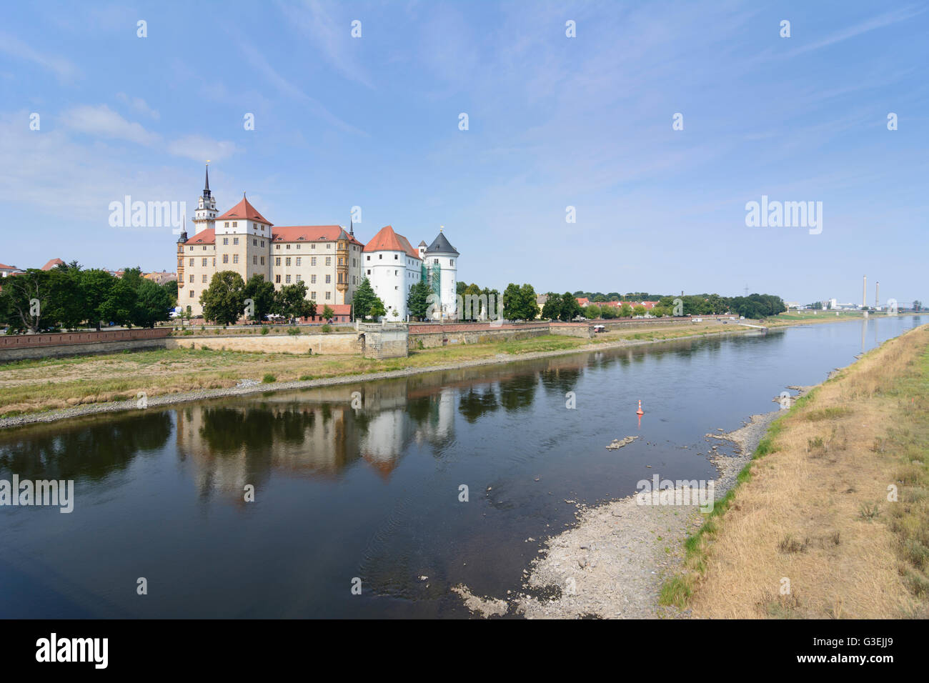 Hartenfels Castle on the Elbe, Germany, Sachsen, Saxony, , Torgau Stock Photo