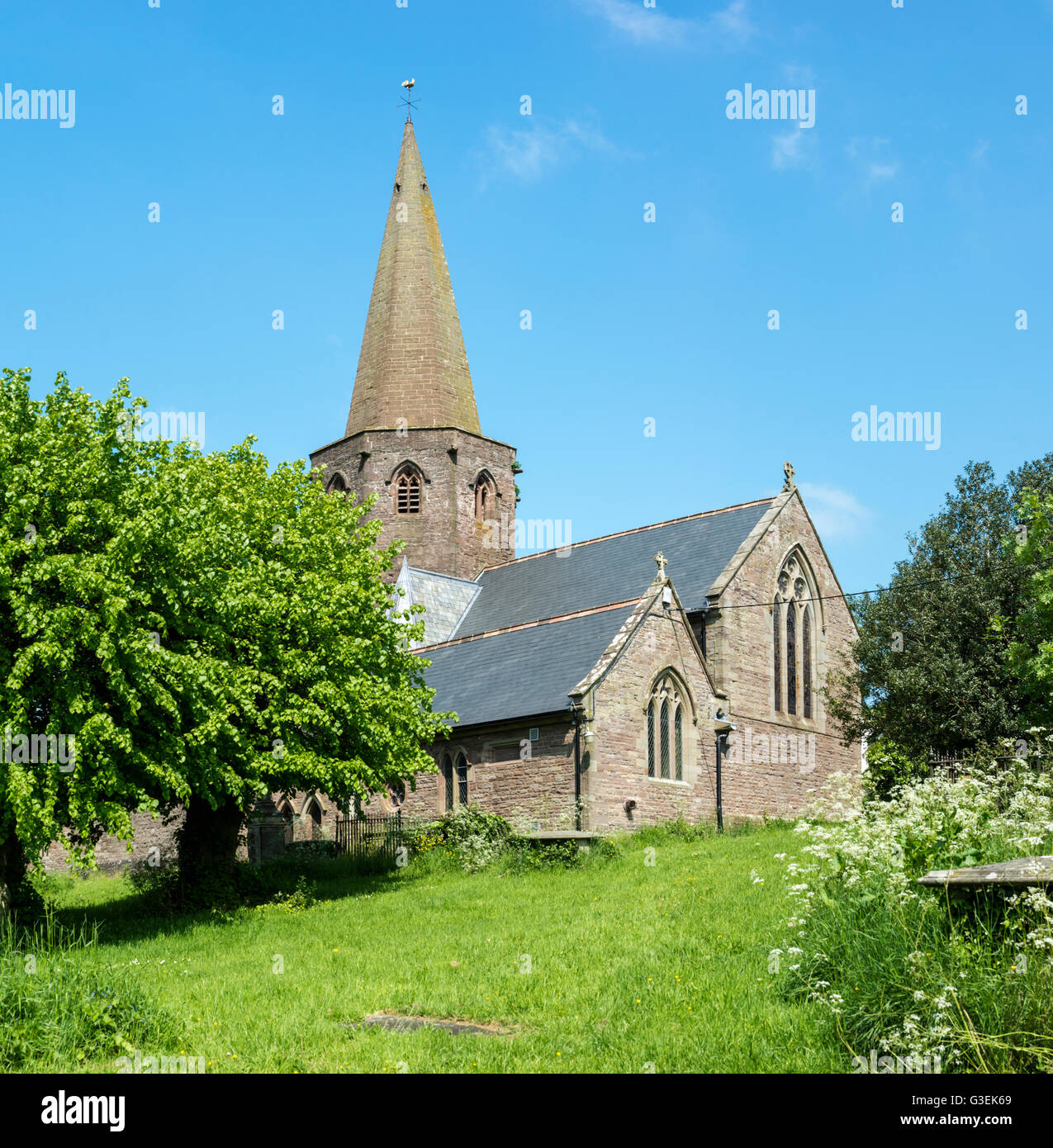 Large country church with spire on a summer day. - Stock Image