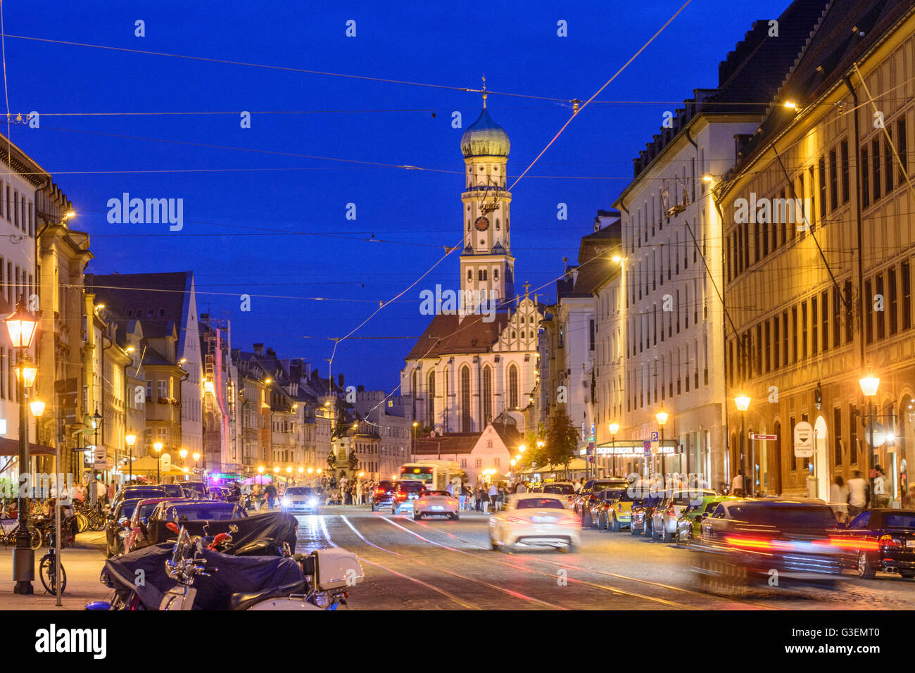 Maximilianstrasse and the Basilica of St. Ulrich and Afra, Germany, Bayern, Bavaria, Schwaben, Swabia, Augsburg - Stock Image