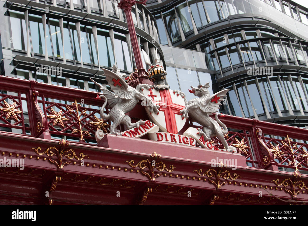 Holborn viaduct bridge with Latin motto of the City Domine dirige nos - Stock Image